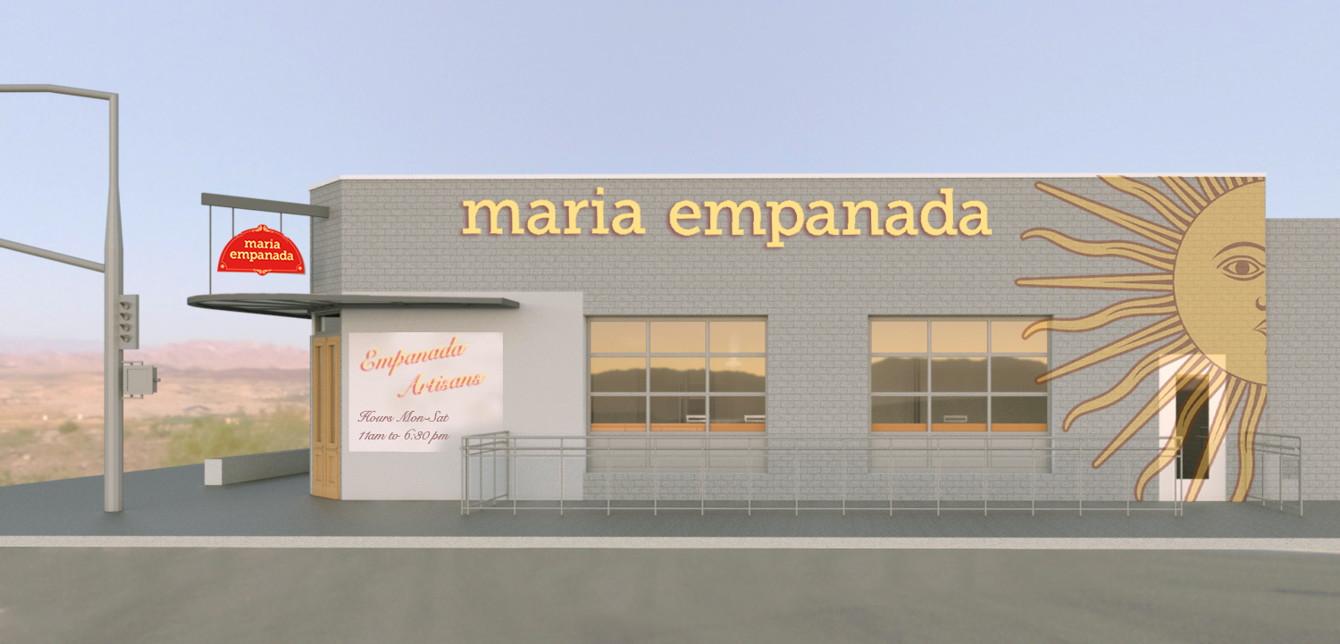 Exterior 3D rendering showing a new door, steel entry canopy and upper hanging signage configuration.