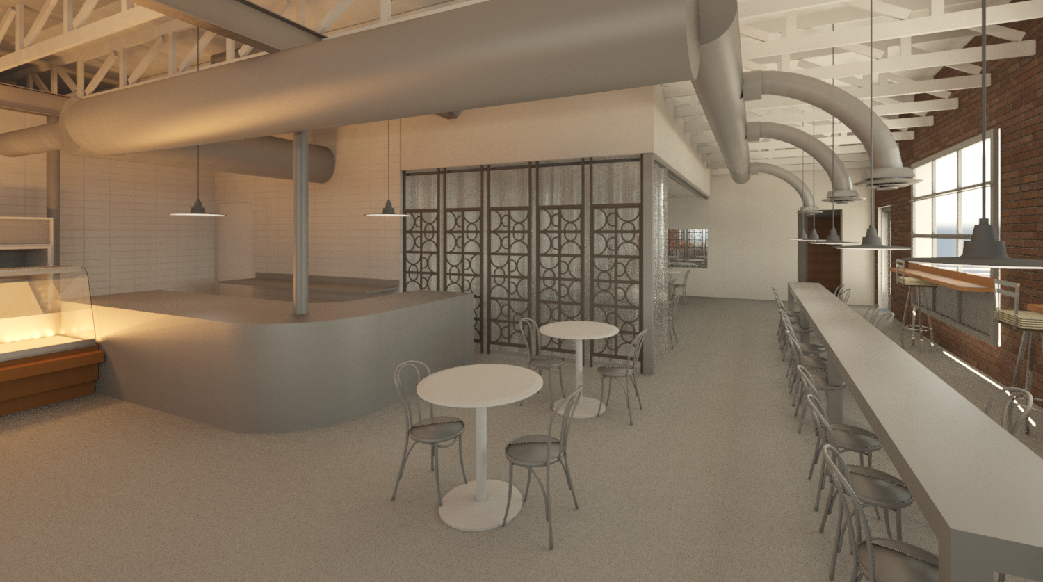Early virtual 3D rendering looking at community table placement, decorative panels and curved counter area.