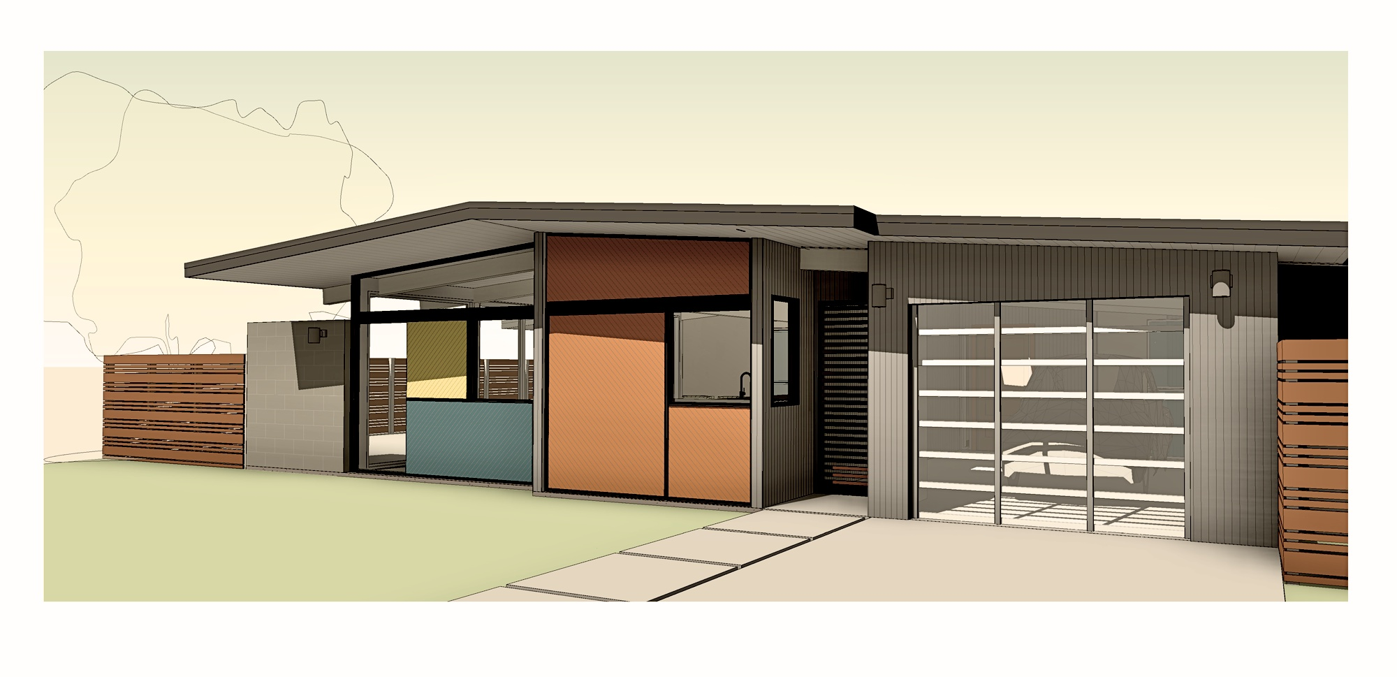Close up view of the carport converted to a garage and a recessed entry gate