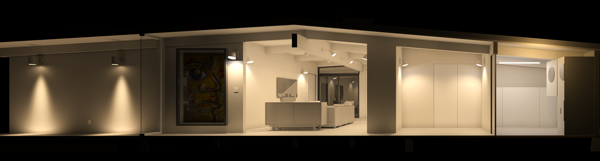 Early lighting study with wall mounted fixtures. Note that the painting will have it's own dedicated light!