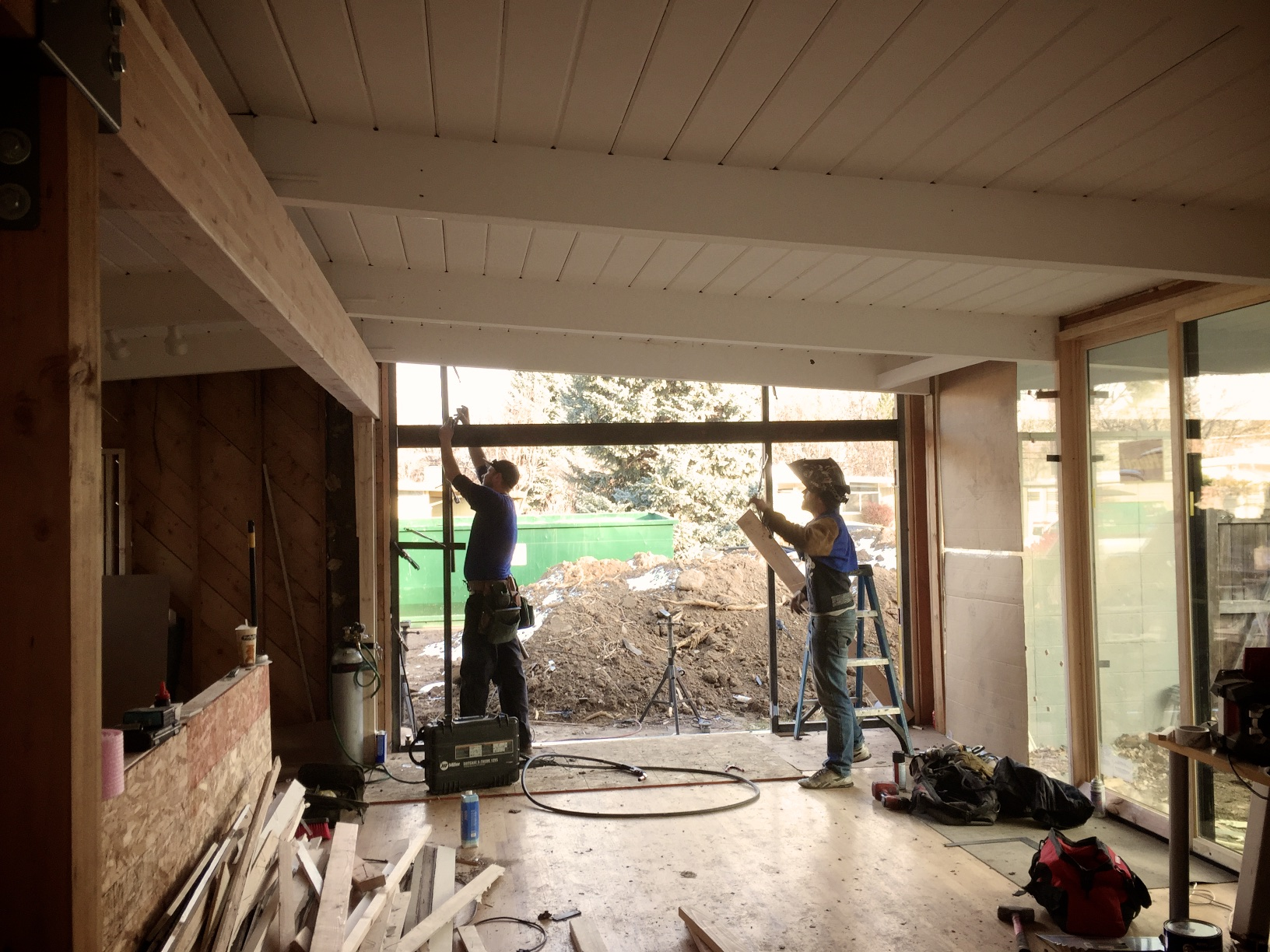 New opening out to the front. Sam and Jake from  Corvus DesignBuild  are fabricating the steel frame for new glass panels out to the front.