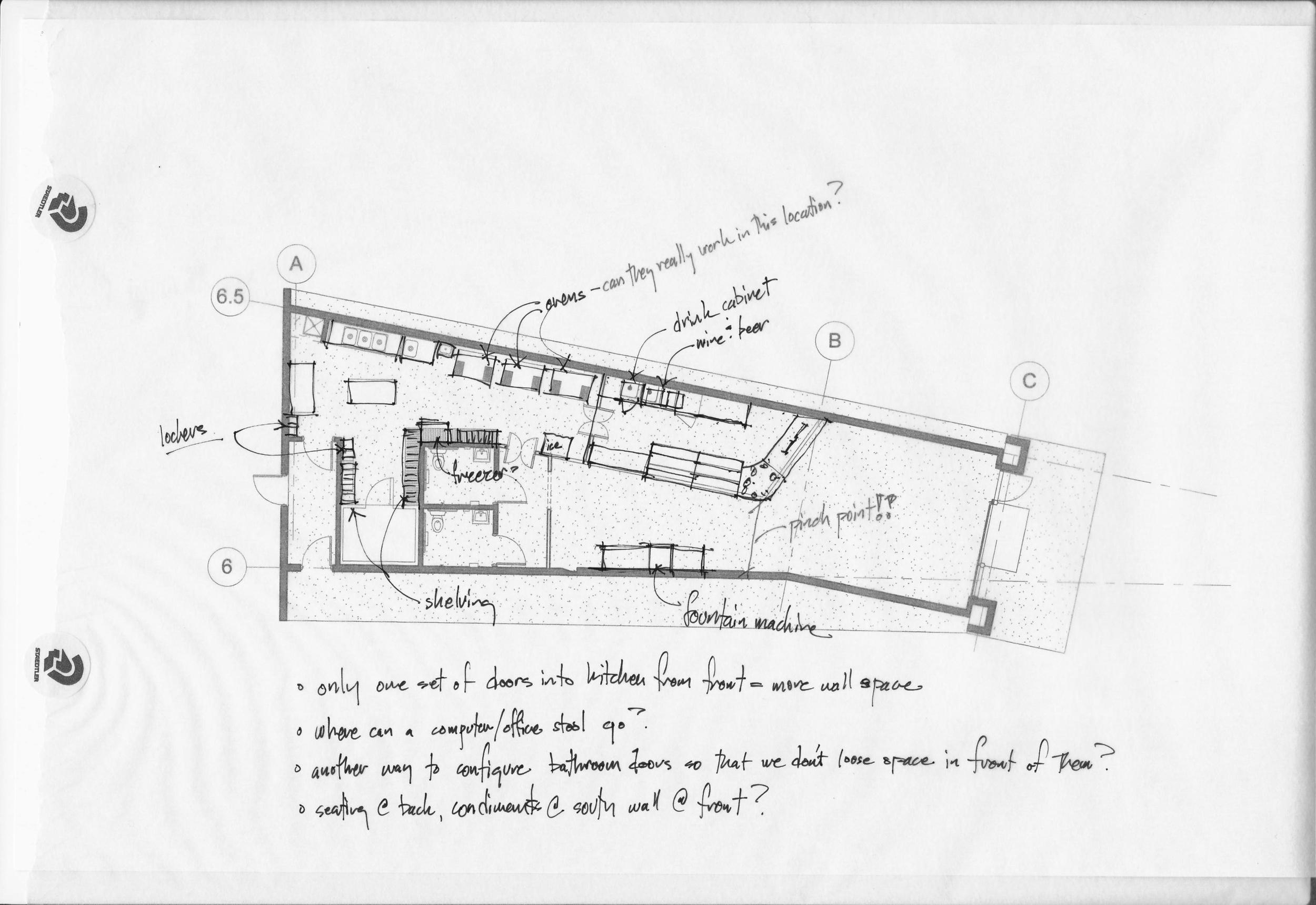 Plan sketch along north wall