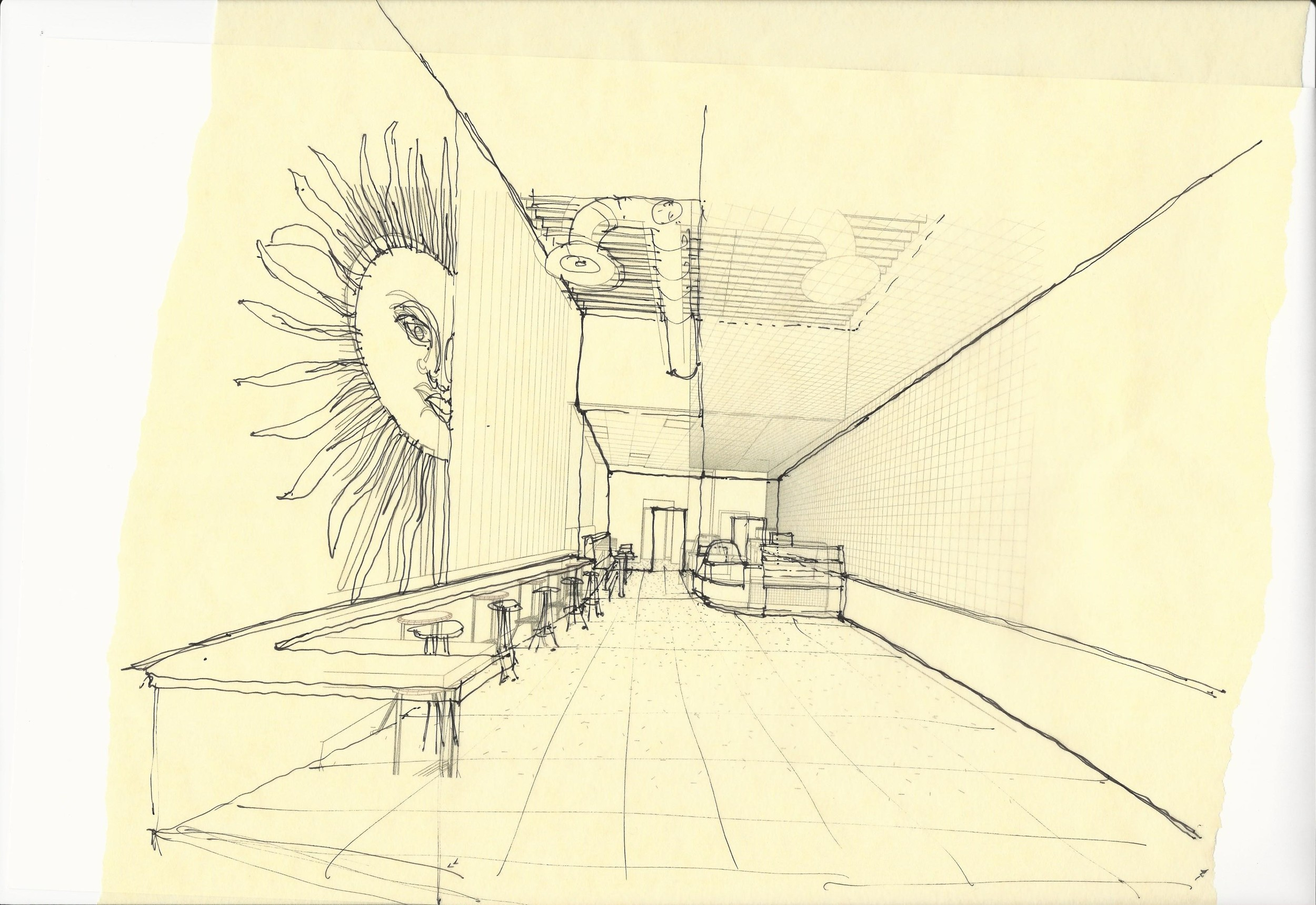 Early sketch of view when entering cafe