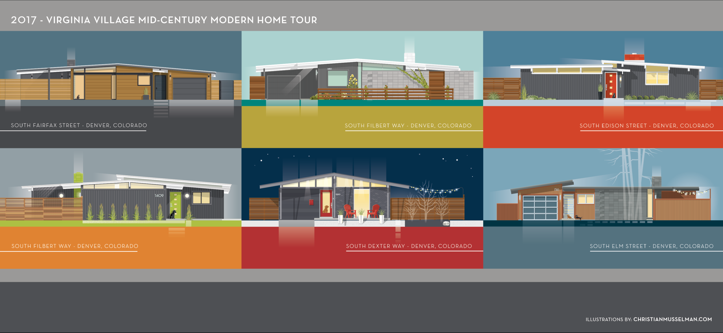 Poster images for the home tour by Christian Musselman