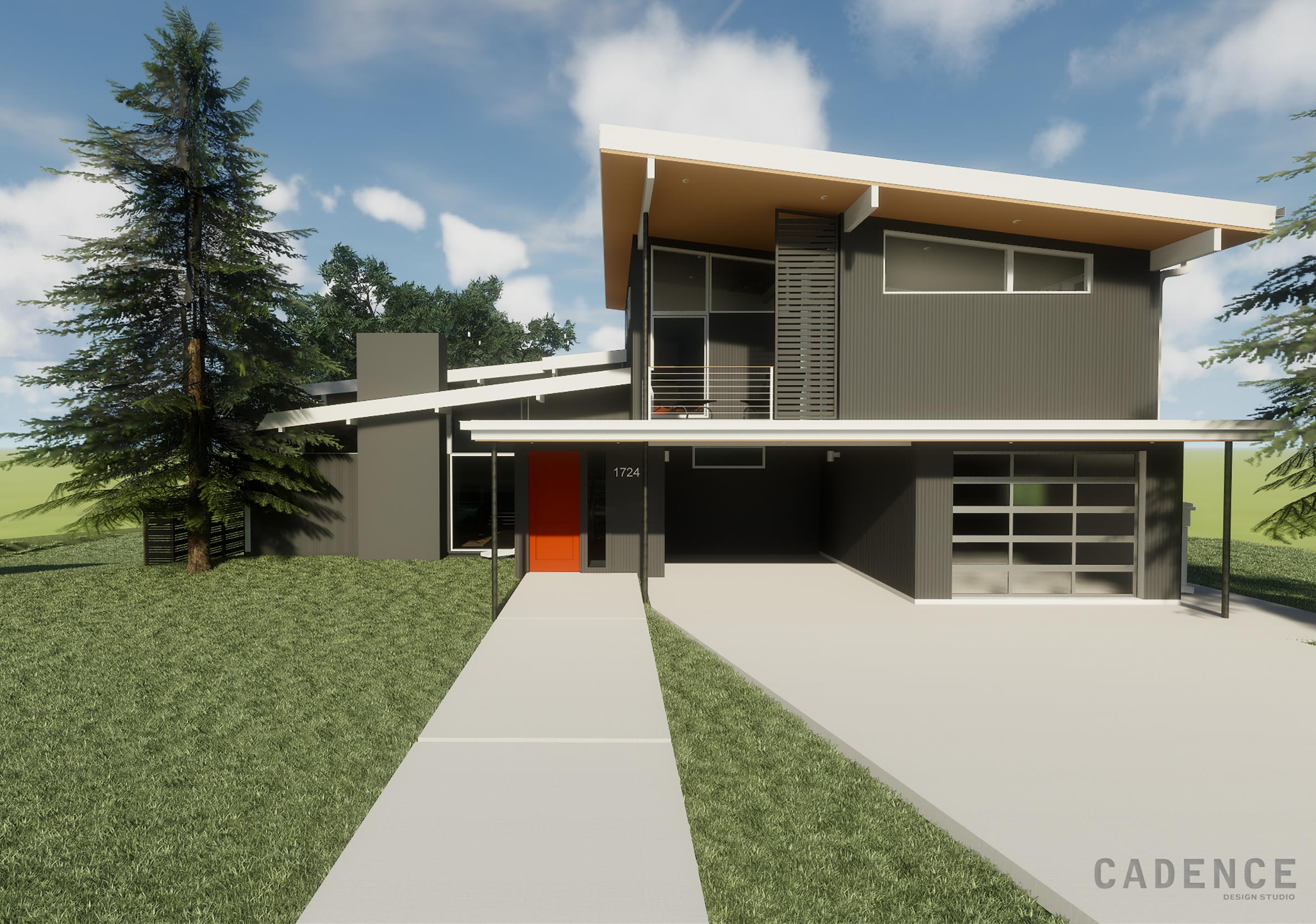 Lynwood - Front - charcoal orange door - Cadence Design Studio.jpg