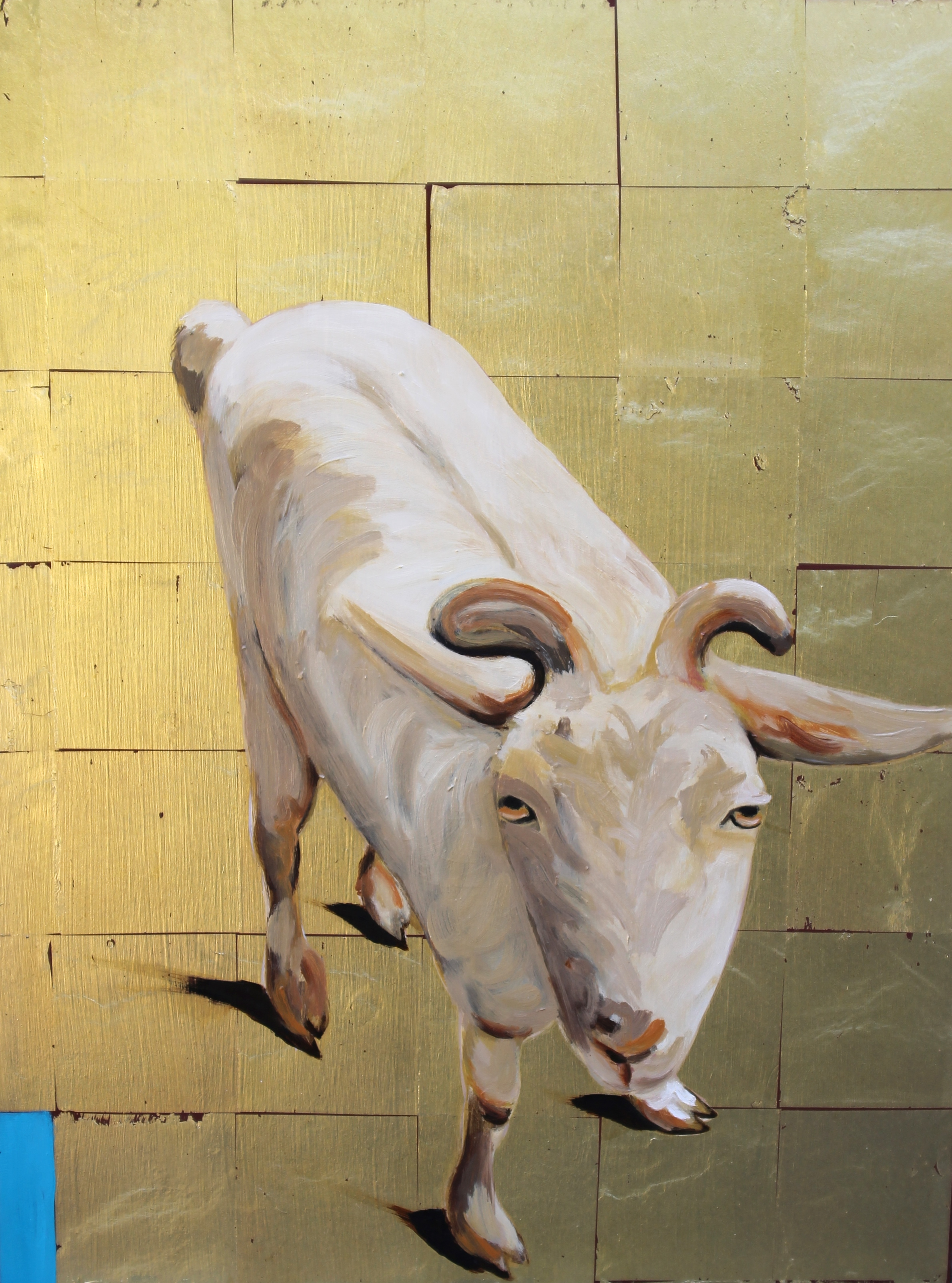 24 x 18 x 2 oil on 23k gold leaf on panel. Sold.
