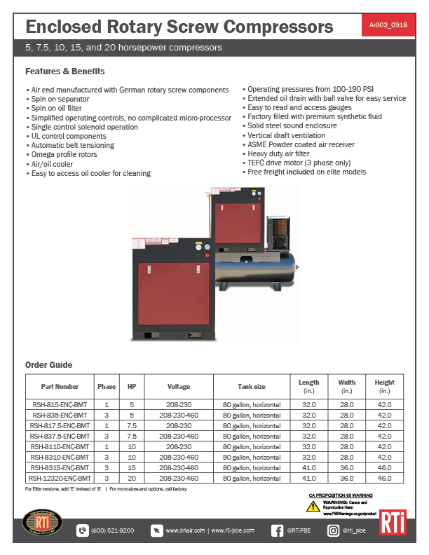 Ai002 Enclosed Rotary Screw Compressors