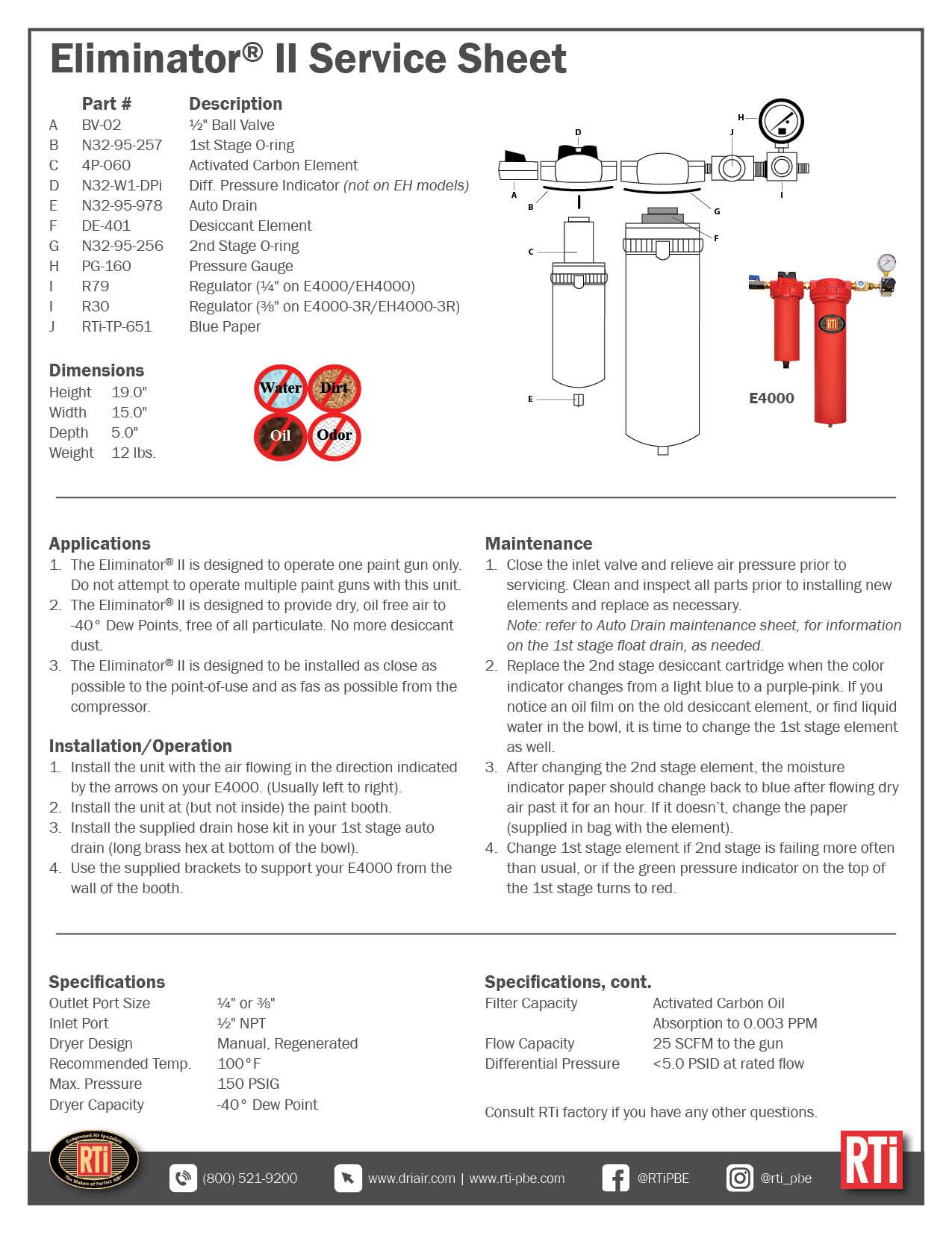 Eliminator II Service Sheet