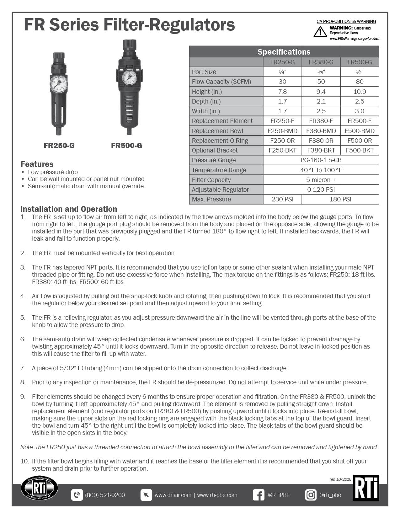 FR Series Service Sheet