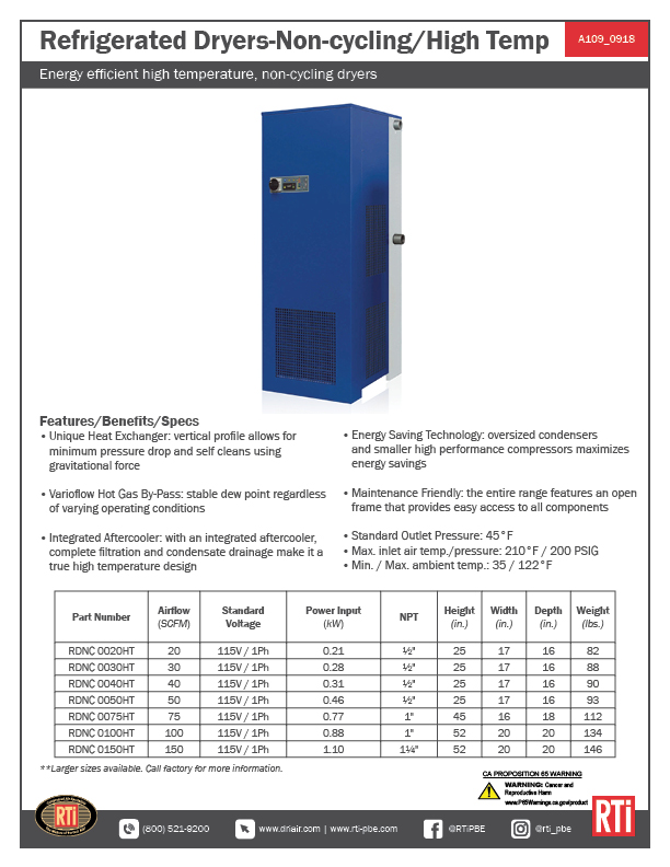 A109 Refrigerated Dryers_High Temp