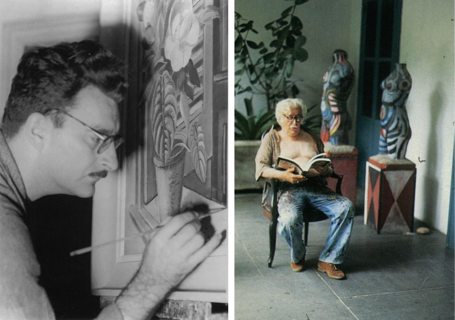 Left:Roberto Burle Marxpainting, ca. 1940 (RobertoBurle Marx office archive, photographer unknown).  Right:Consultinga book on De Kooning,Sitio, 1991 (photograph by Conrad Hamerman).