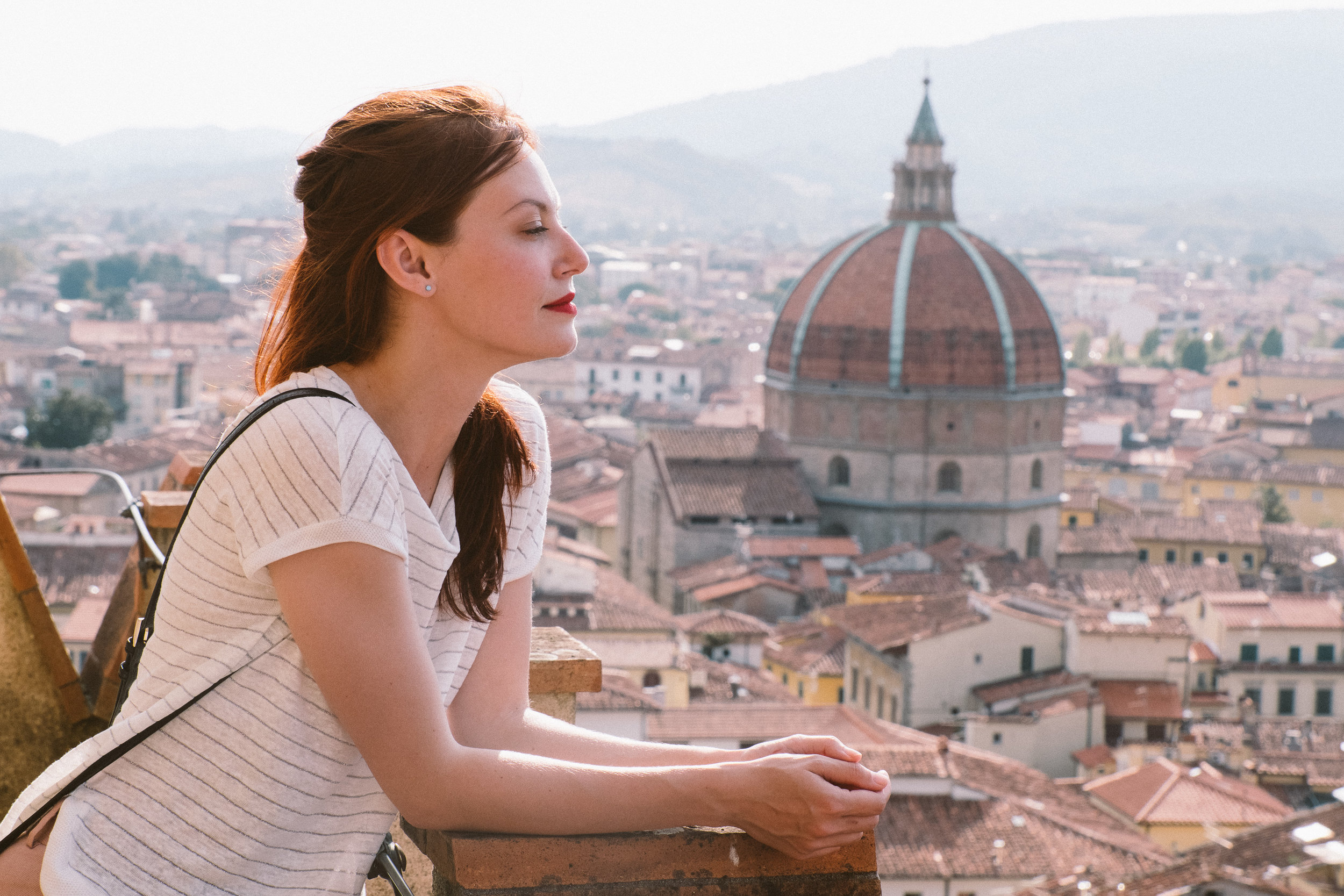 Admiring the views over Pistoia