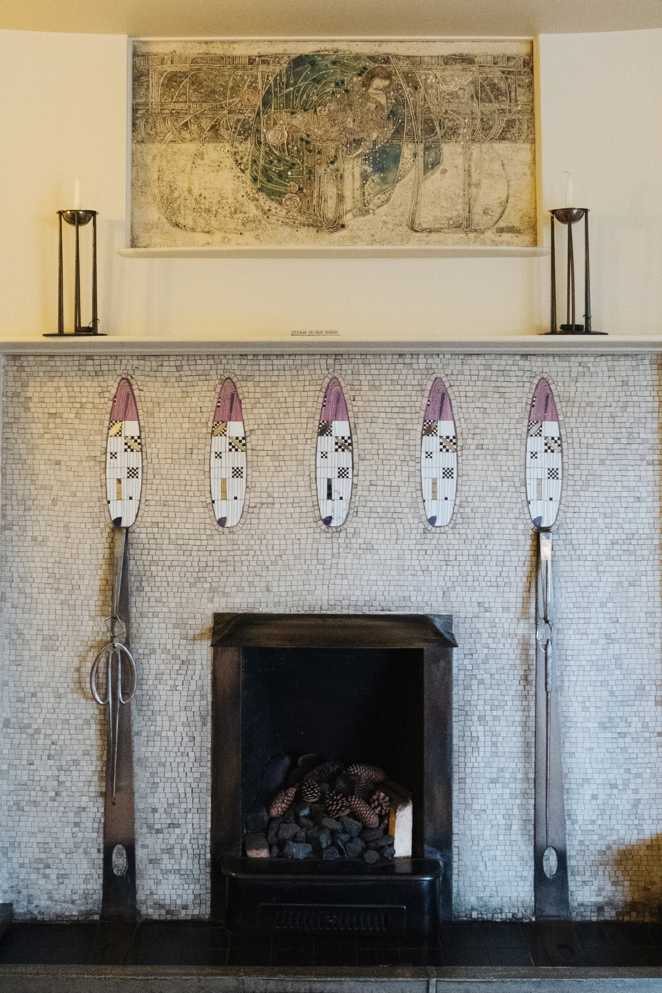 Margaret Macdonald's sensual 'sleeping princess' gesso panel above the drawing room fireplace