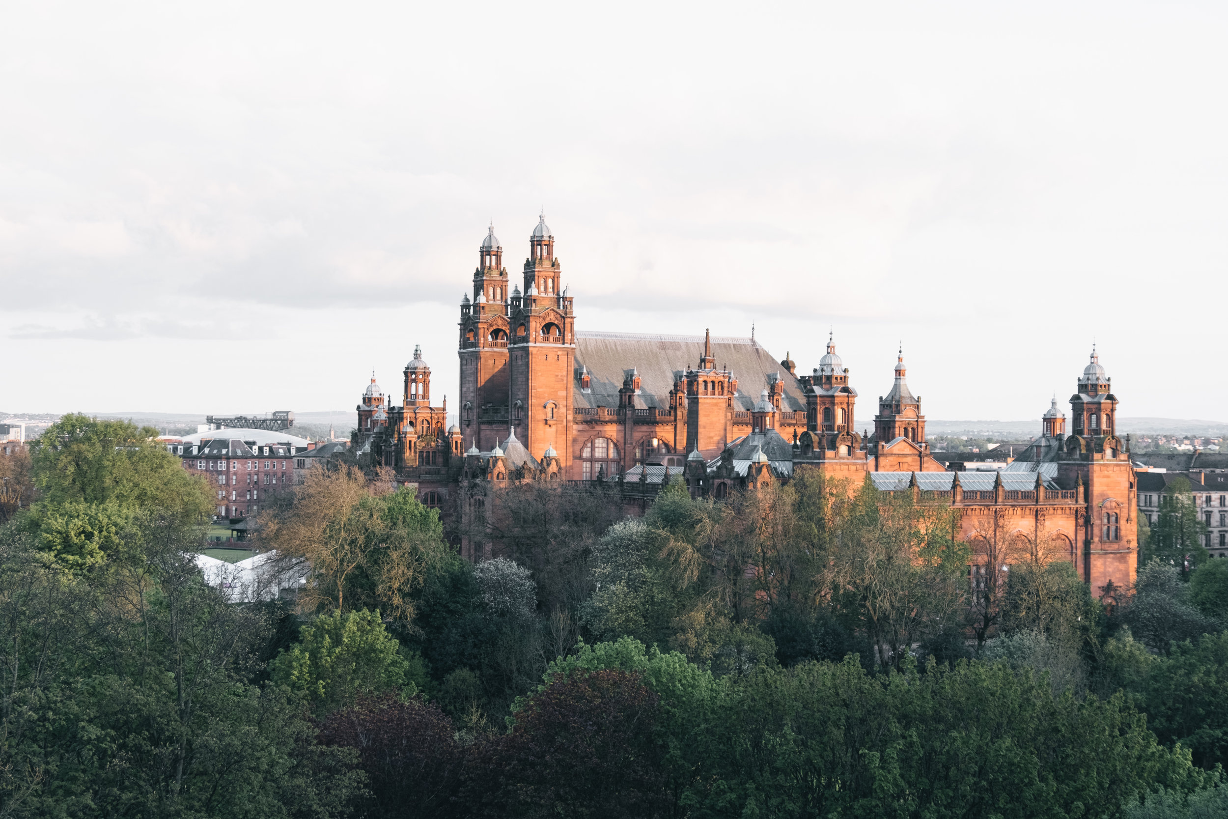 The view of Kelvingrove Art Gallery from University of Glasgow. Marked [6] on the guide