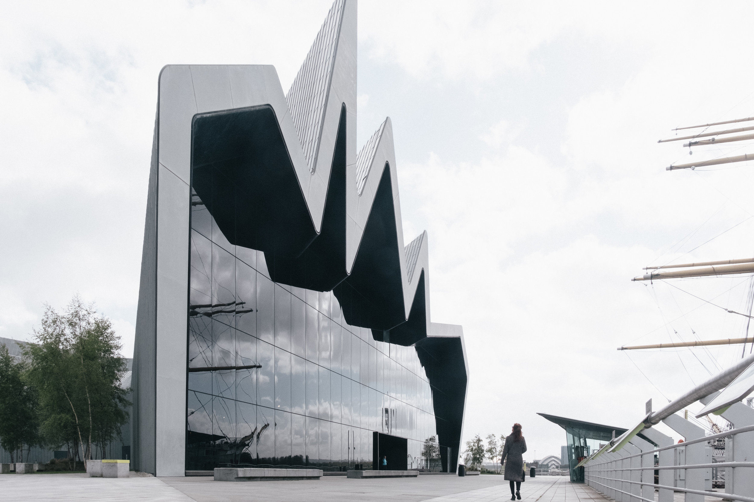 Extravagant, contemporary, genius- that's the Riverside Museum by Zaha Hadid, marked [1] on a map