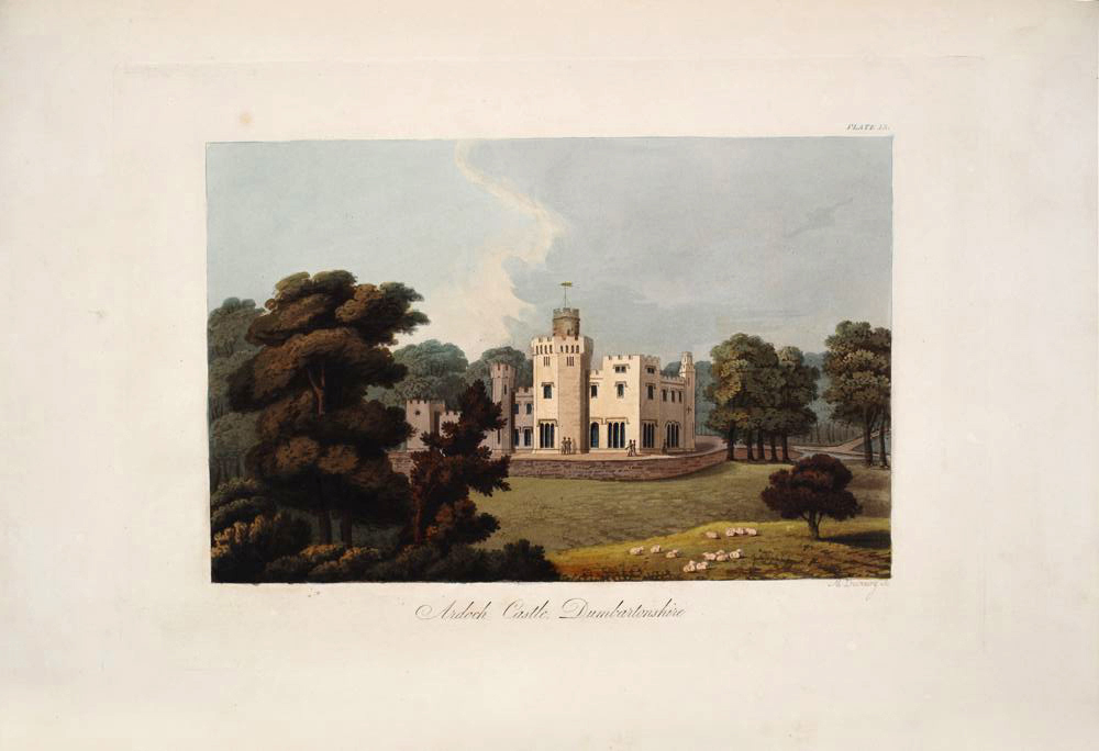 Hand-coloured drawing of Balloch Castle