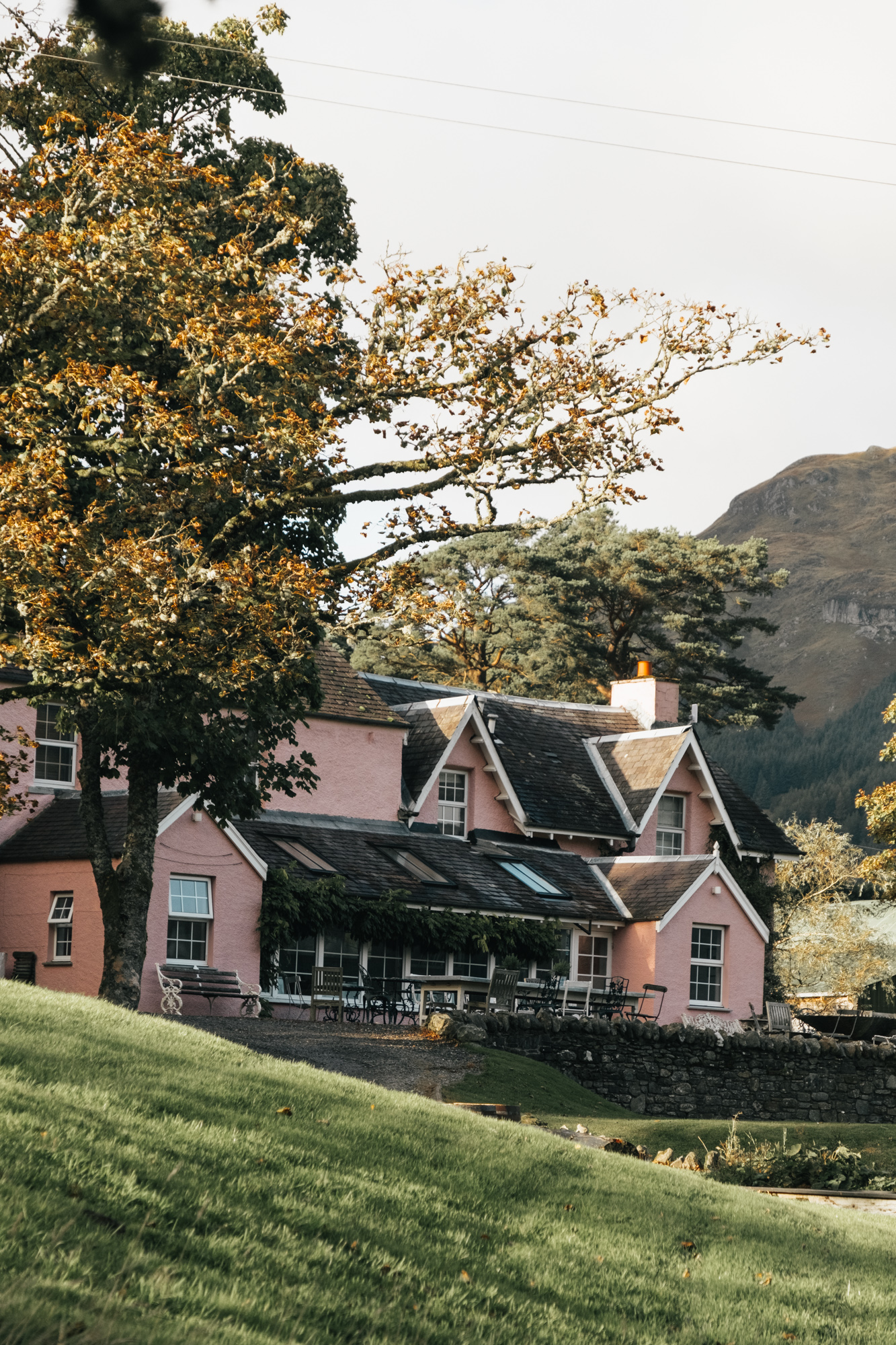 Visitor's parking located at Monachyle Mhor Hotel