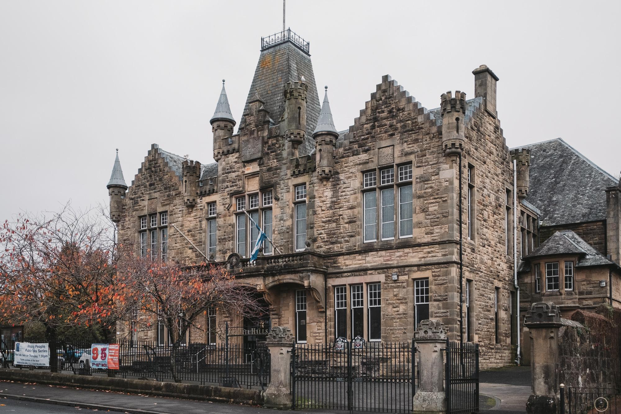 Victoria Halls in Scottish Baronial style
