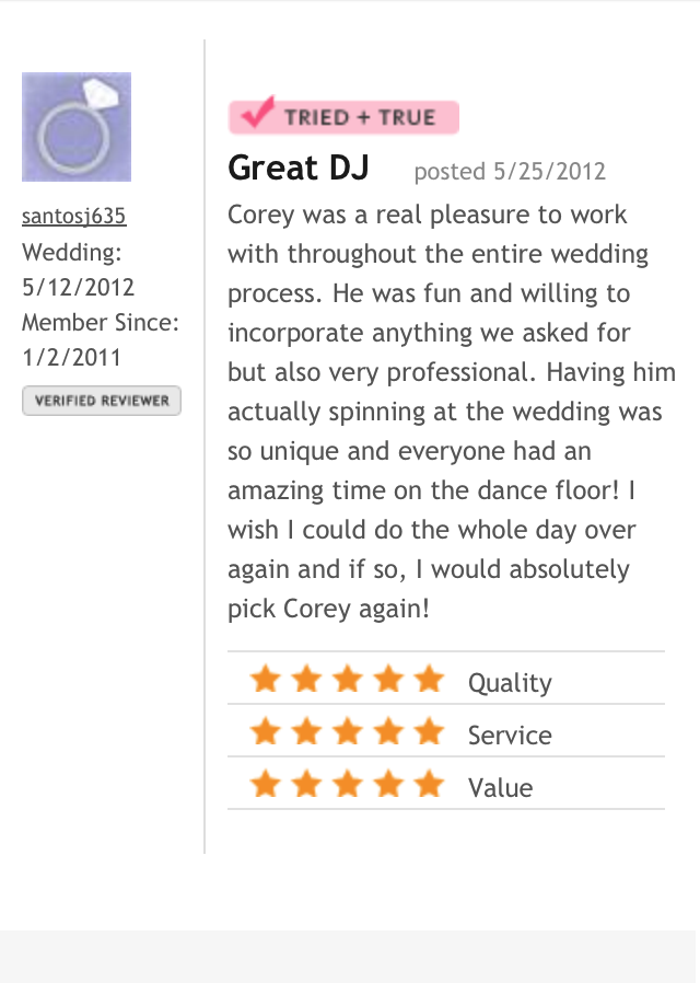 DJ Corey Young Wedding Reviews // The Aldrich Mansion Warwick RI
