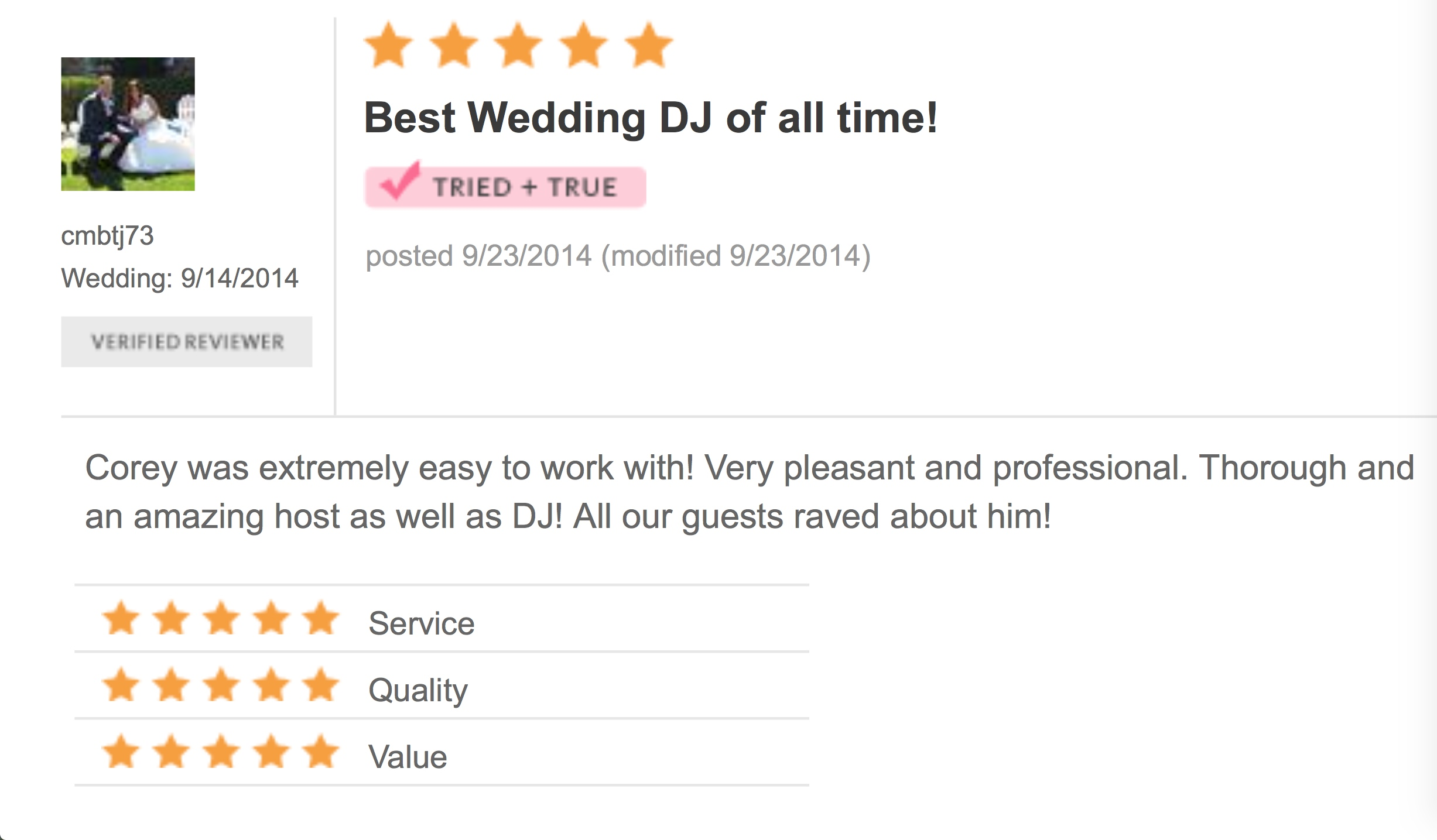 DJ Corey Young Wedding Reviews // Spain Restaurant Narragansett RI