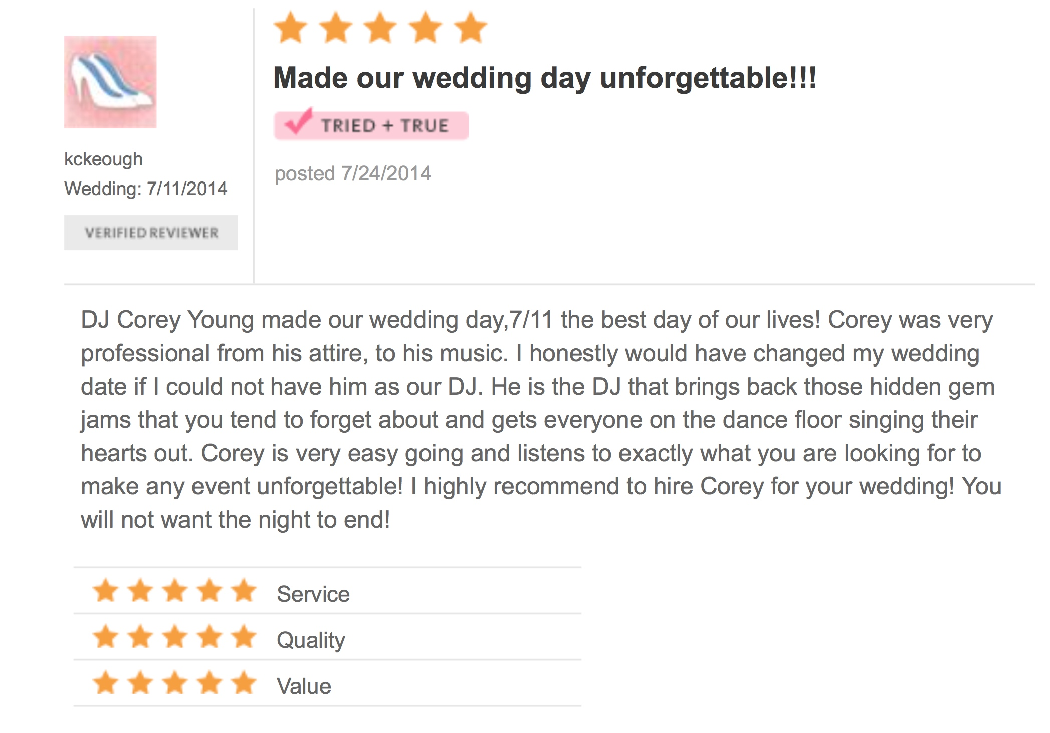 DJ Corey Young Wedding Reviews // Quidnessett Country Club North Kingstown RI