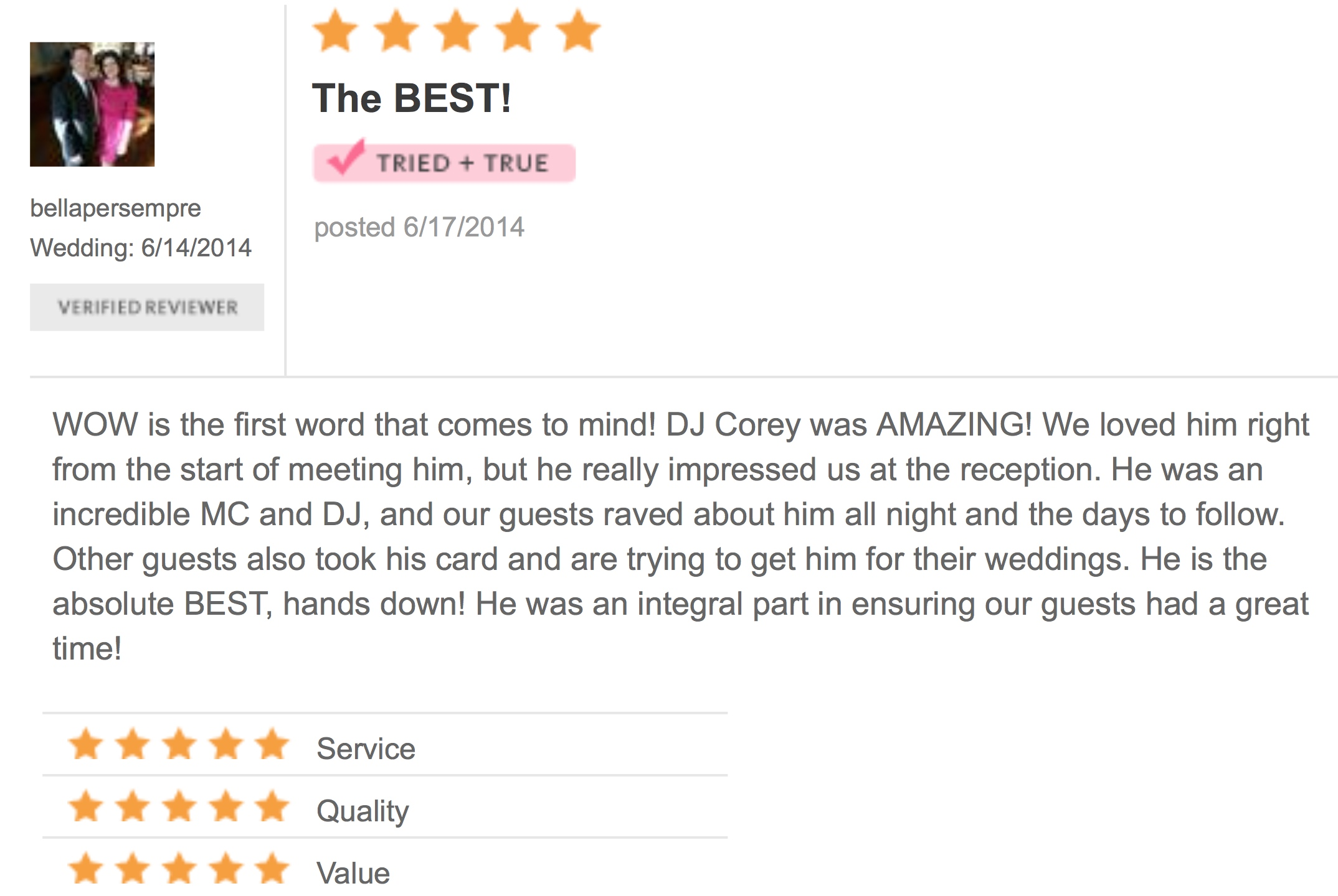 DJ Corey Young Wedding Reviews // Cafe Nuovo Providence RI