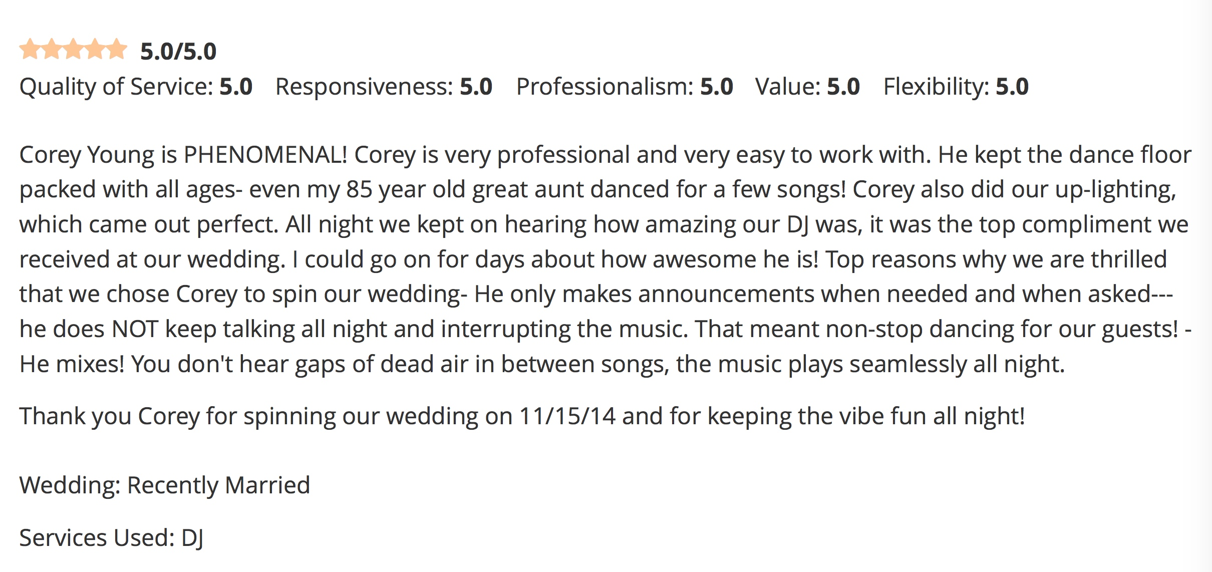 DJ Corey Young Wedding Reviews // Black Rock Country Club Hingham MA