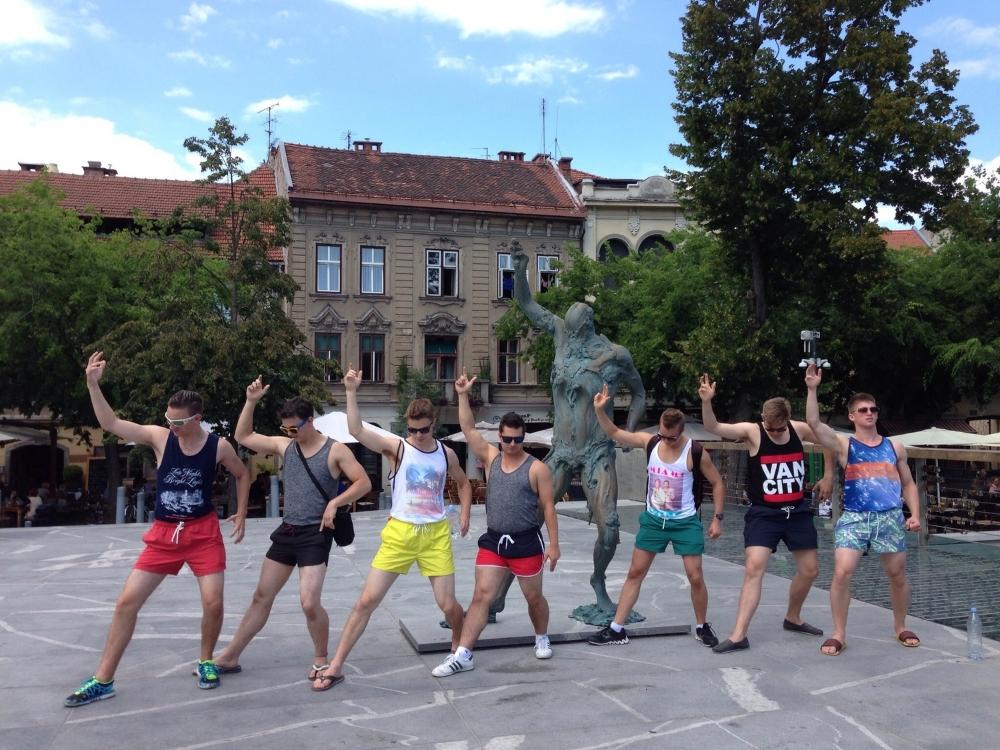 Retro shorts in Ljubljana --after a shopping trip in Zagreb, the boys flash their legs in Ljubljana