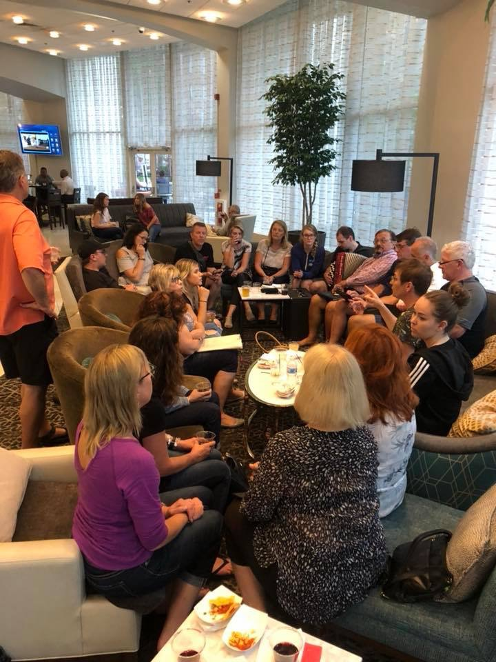 Choir rehearsing in the lobby!