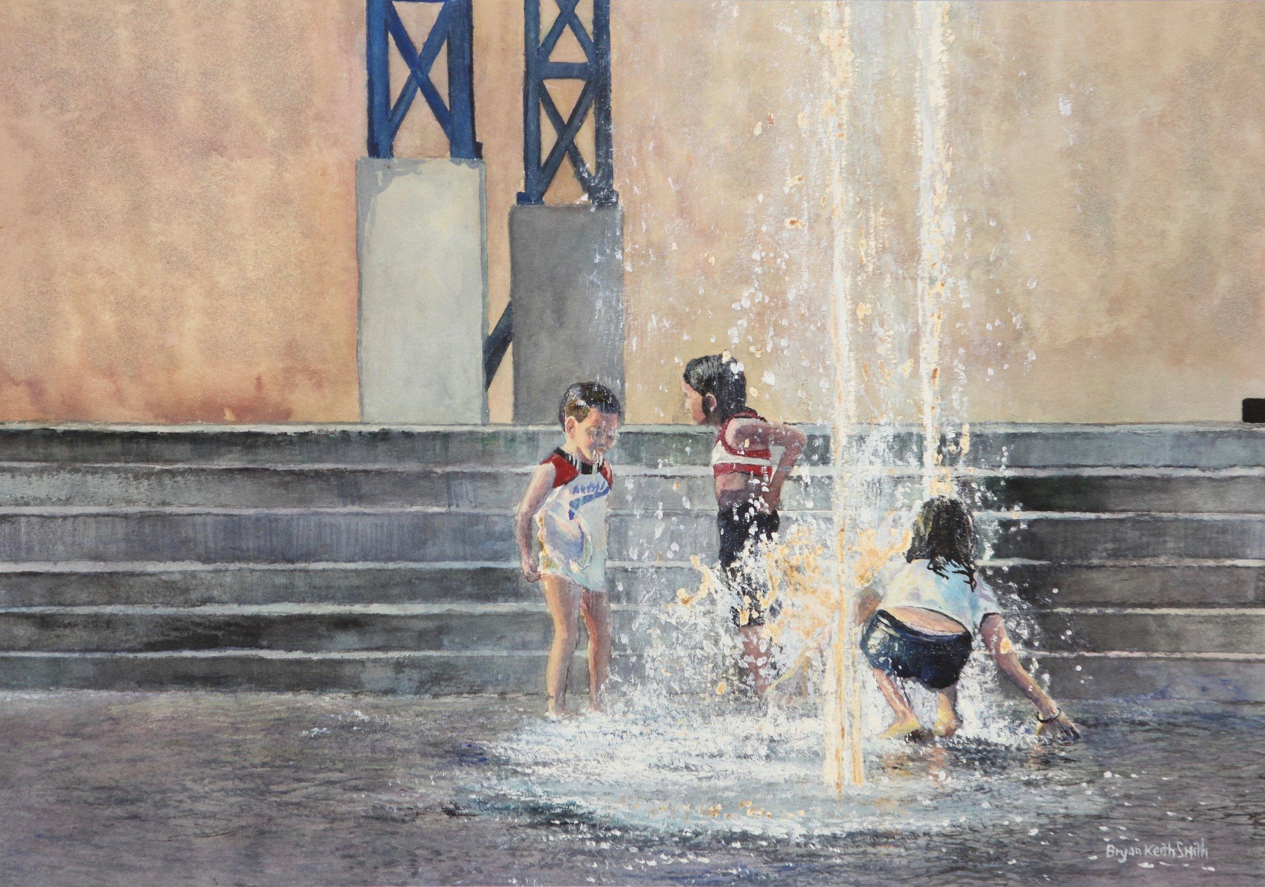 """Waterworks (Costa Rica Children) 20 1/4"""" W x 14 1/2"""" H  $1600."""
