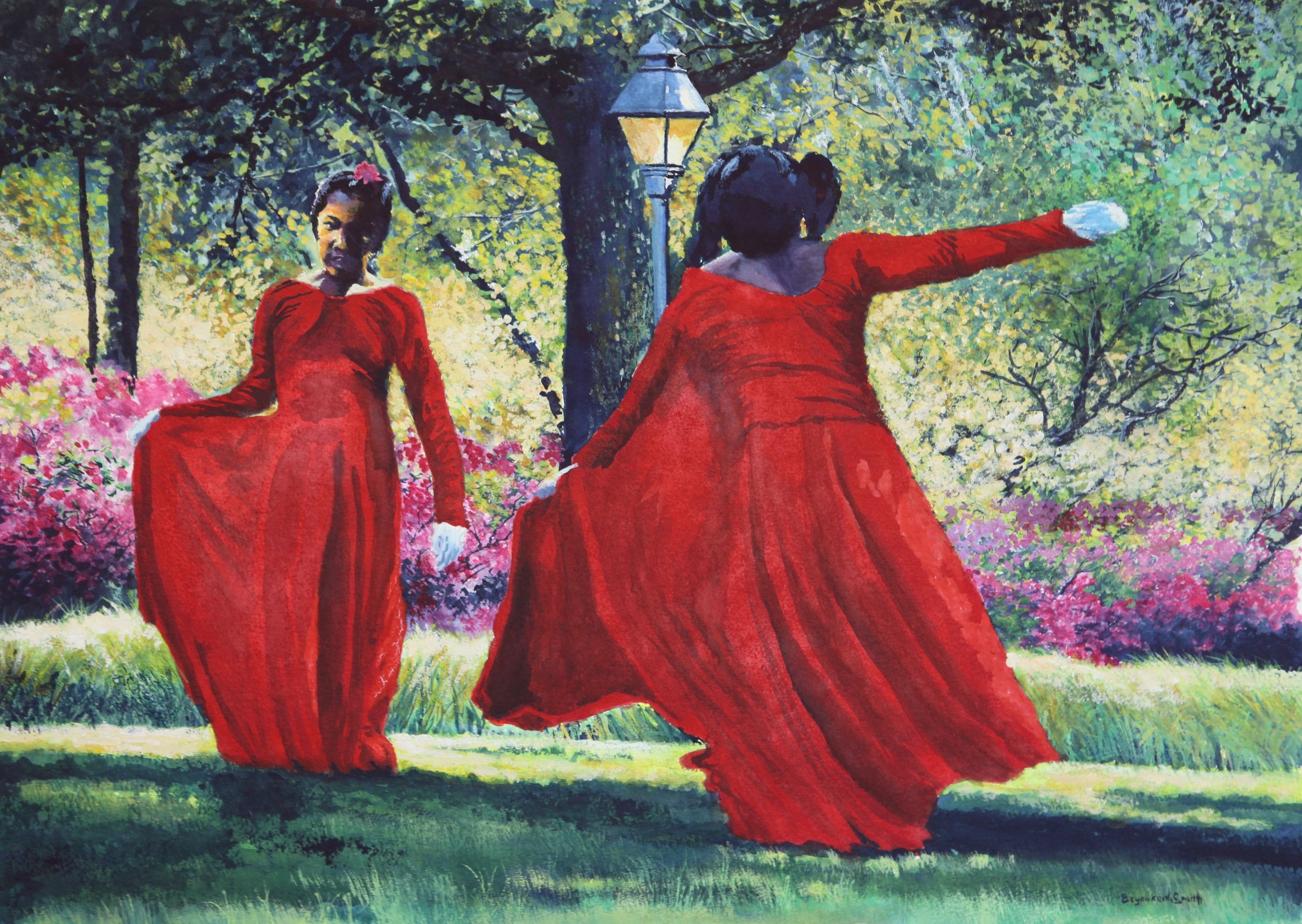"""Dance in the Park 25"""" W x 18"""" H $2500."""