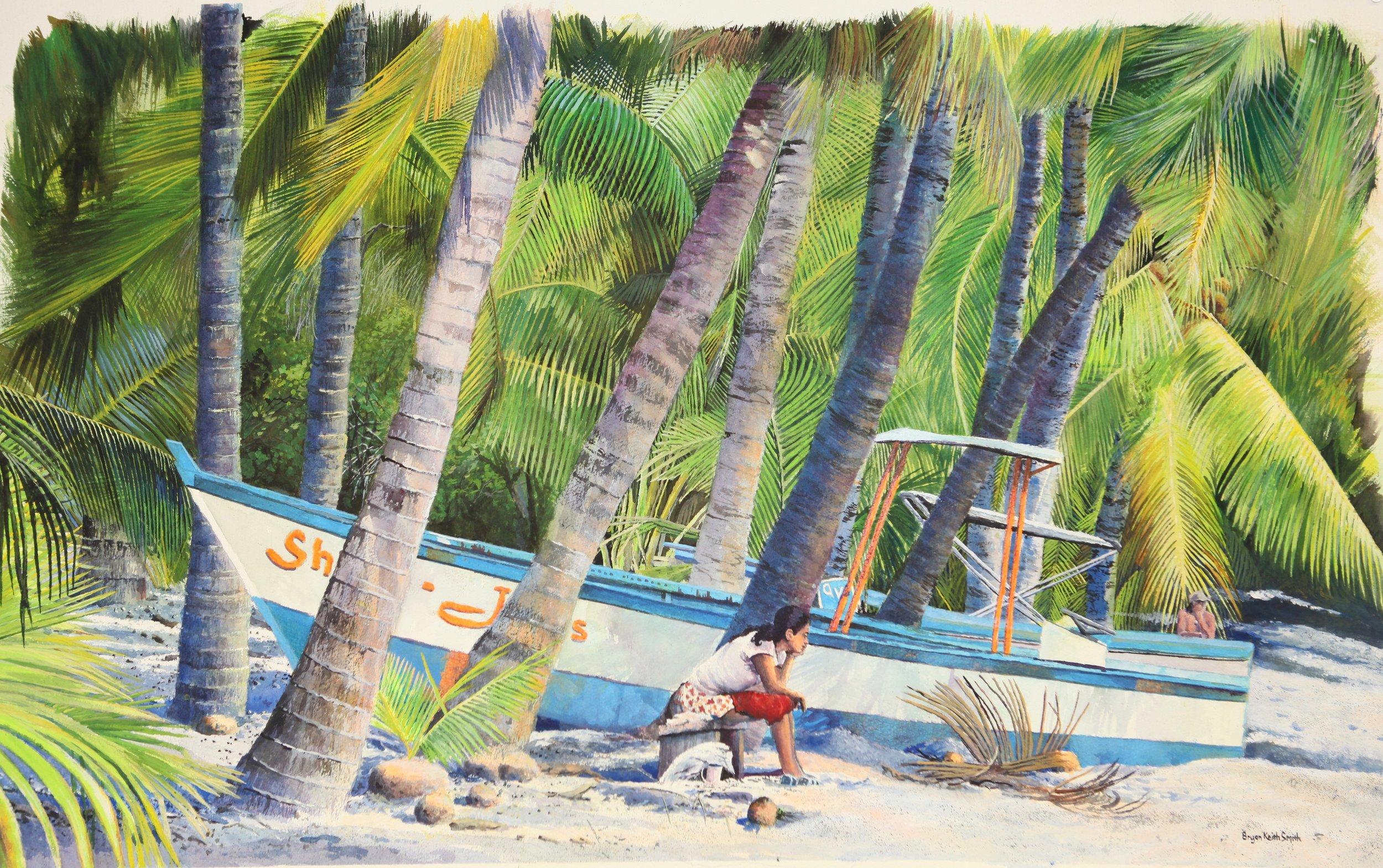 "Waiting, Costa Rica (Playa Carillo) 38"" W x 23"" H $6500."