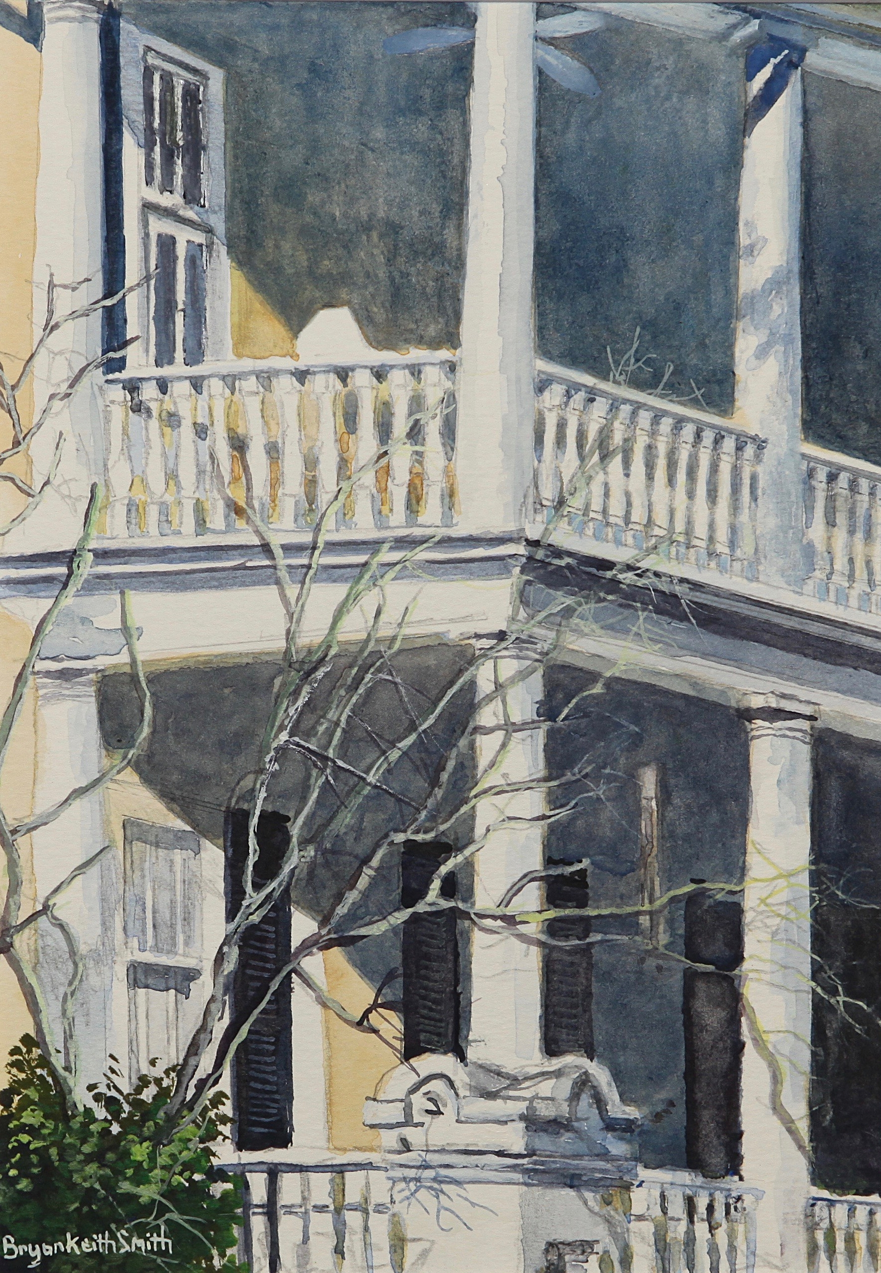 """Out on the Porch (Charleston) 18 1/2"""" W x 20 1/2"""" H  Framed $1100."""