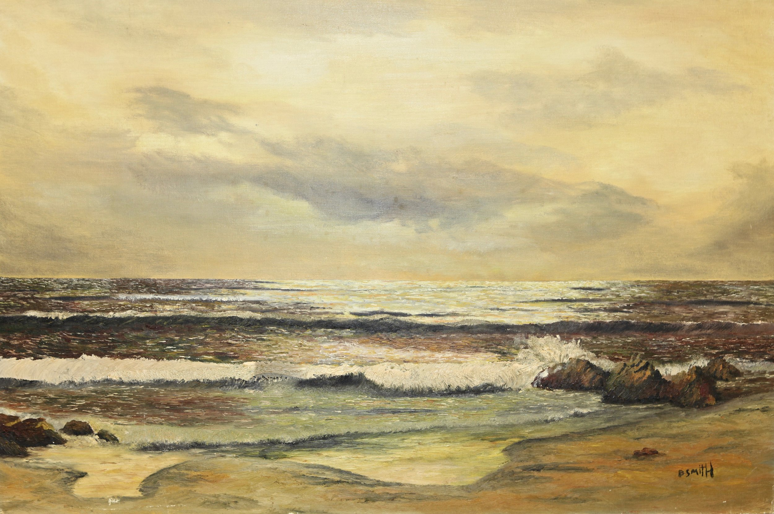 "Golden Sea Splendor 44"" W x 32"" H Framed $2600."