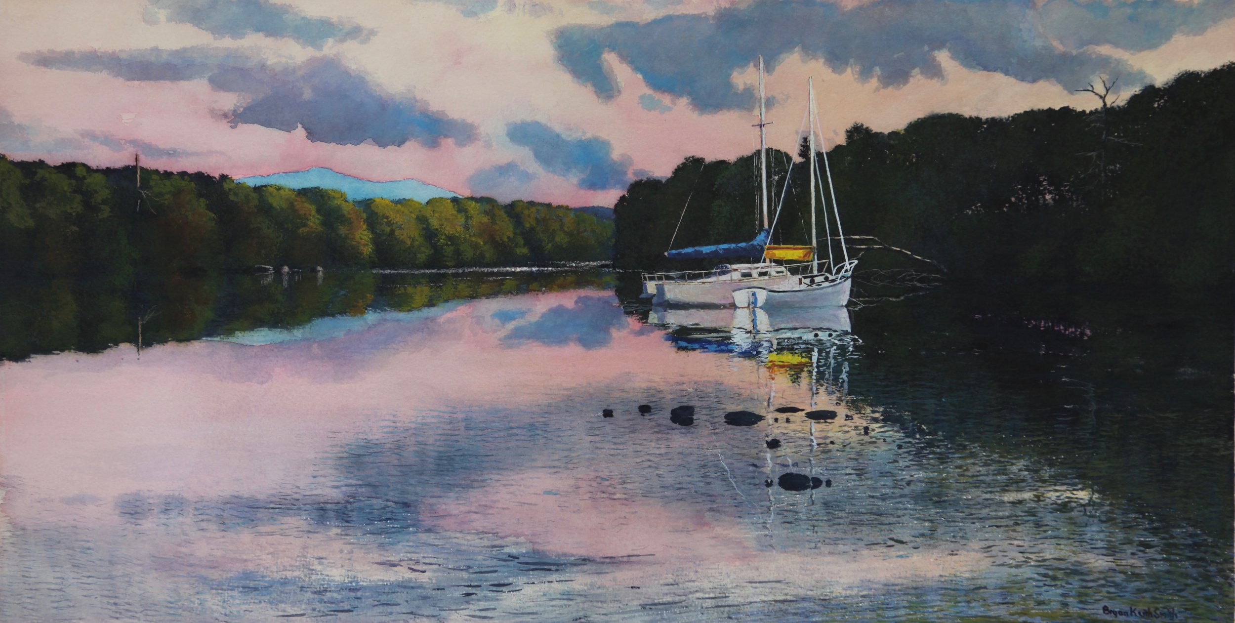 """Lake Reflections 47"""" W x 37 1/2"""" H Framed $5350."""