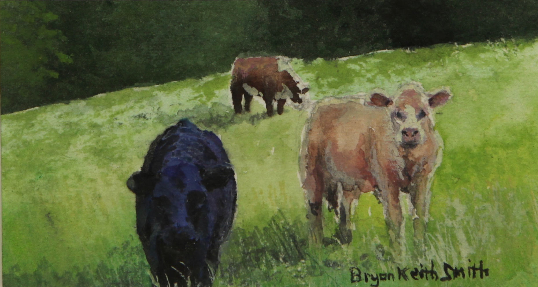 """What's Up(3 cows) 16"""" W x 14"""" H  Framed $600."""