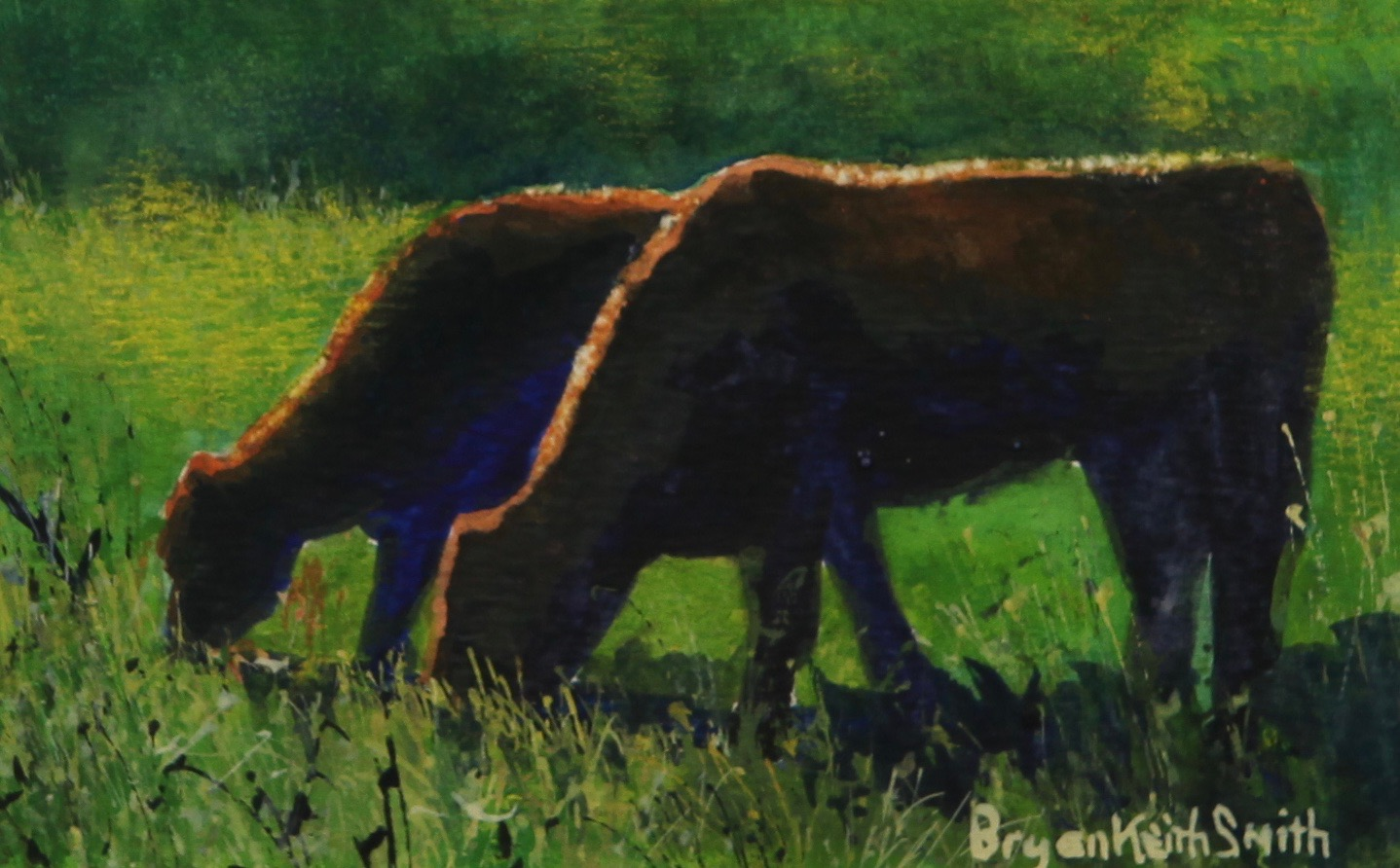"""Two Cows 5 1/2"""" W x 3 1/2"""" H  Framed $475."""