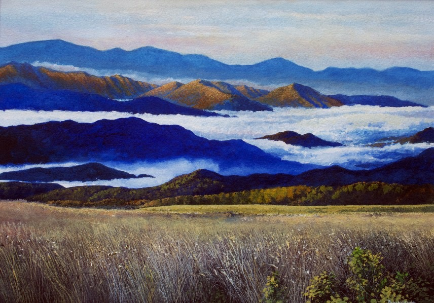 """Fog in the Valley 46"""" W x 37"""" H  Framed $5850."""