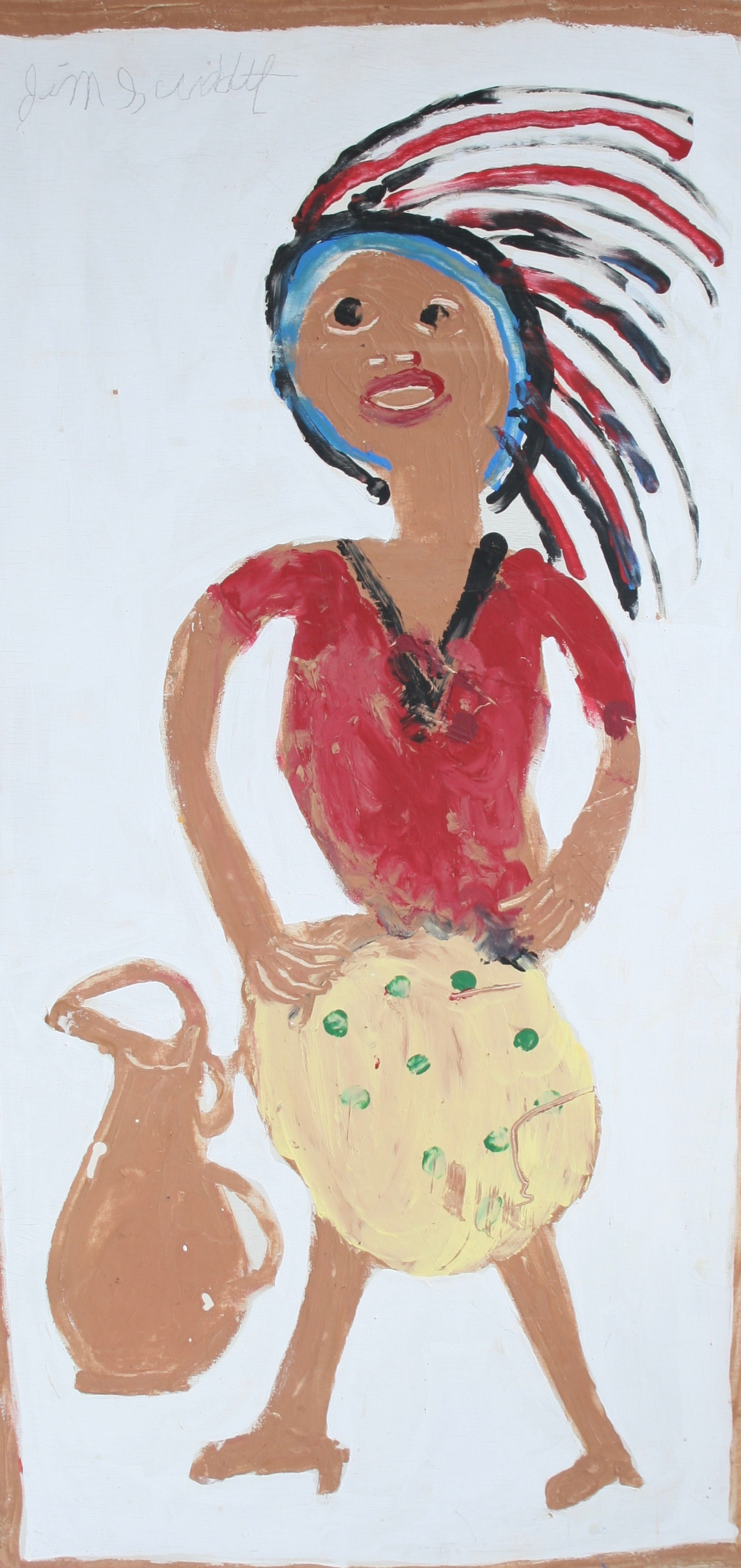 """Indian Woman with Jug 24"""" W x 48"""" H Unframed $1400."""