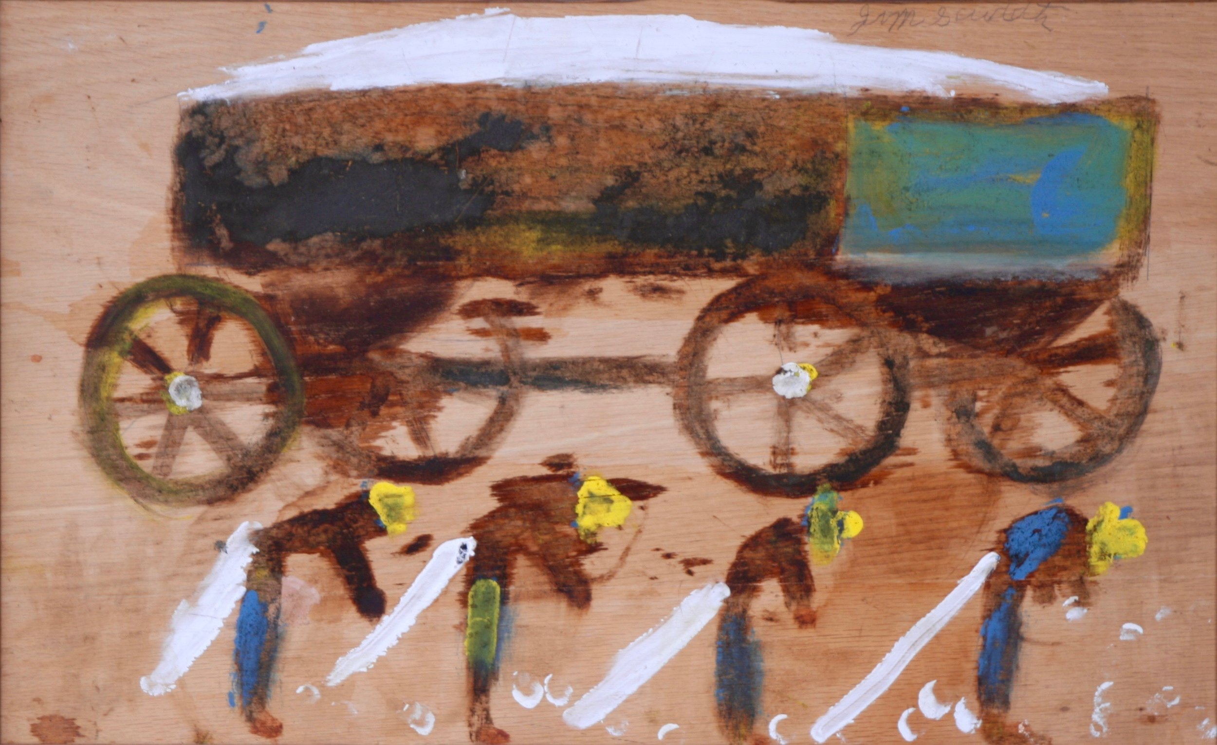 """Cotton Pickers with Green Wagon 20 3/4"""" W x 17 1/2"""" H Framed $1400."""