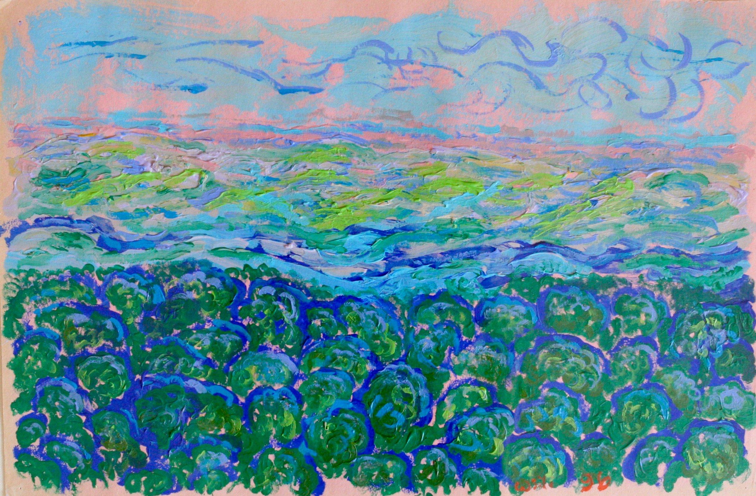 """Summer Landscape 28"""" W x 22"""" H Framed $750."""