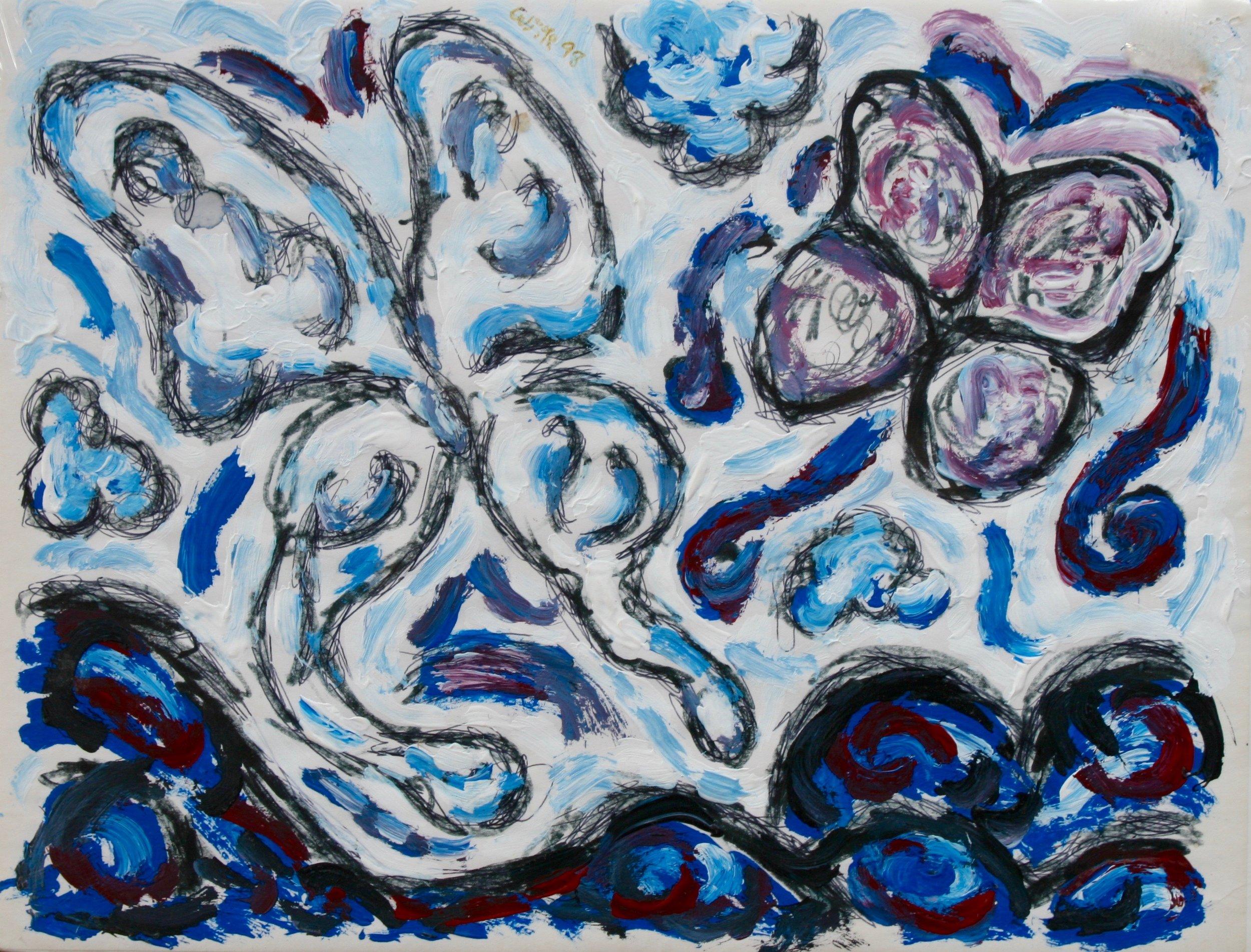 """Blue Butterfly Landscape 11"""" W x 8.5"""" H Unframed $125."""