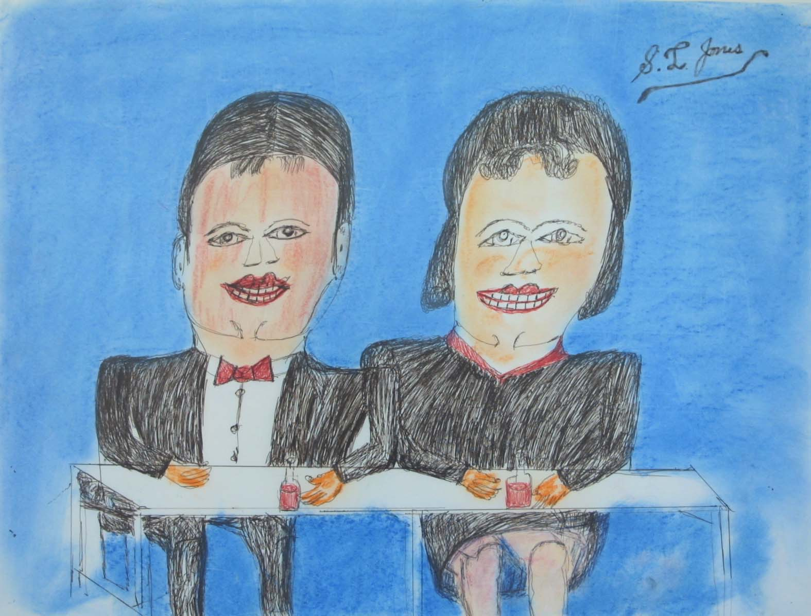 """Couple at Table 31 1/4"""" W x 25 1/2"""" H Framed $600."""