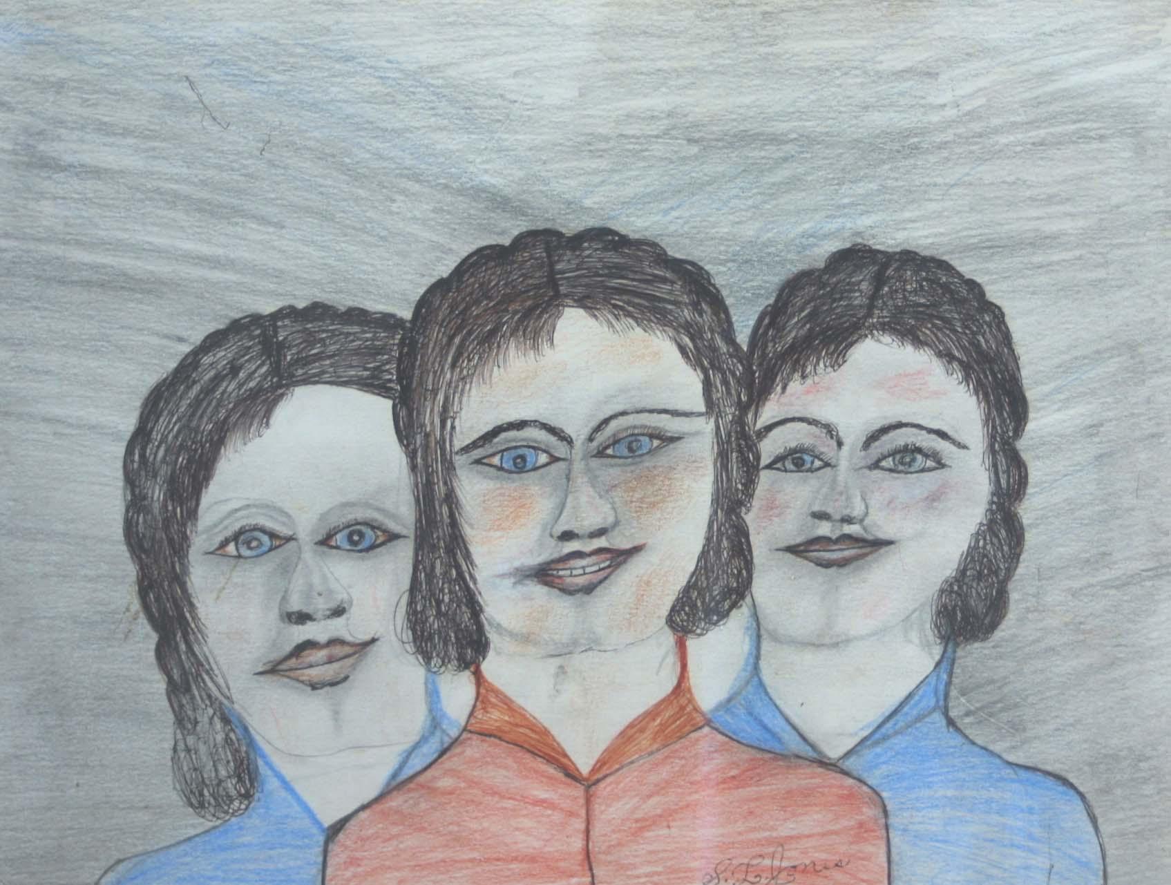 "Three Ladies 21"" W x 24"" H Framed $1175."