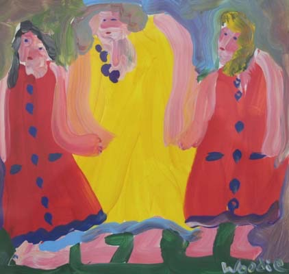 """Lady in Yellow with Two Girls in Red 25"""" W x 24 1/2"""" H Framed $550."""
