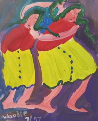 """Two Girls with Green Hair 17 1/2"""" W x 18 3/4"""" H Framed $425."""