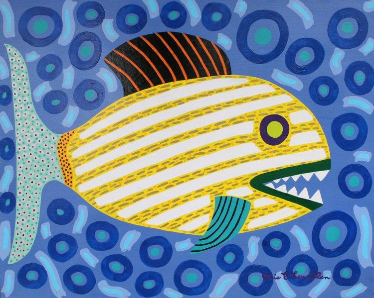 "Striped Yellow Fish Chris Lewallen 30"" W x 24"" H Unframed $350."