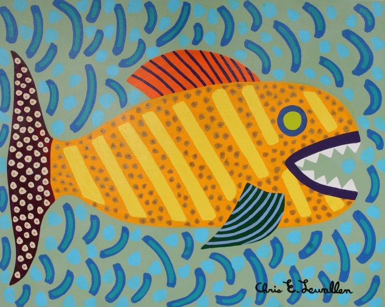 "Orange Spotted Fish Chris Lewallen 30"" W x 24"" H Unframed $350."
