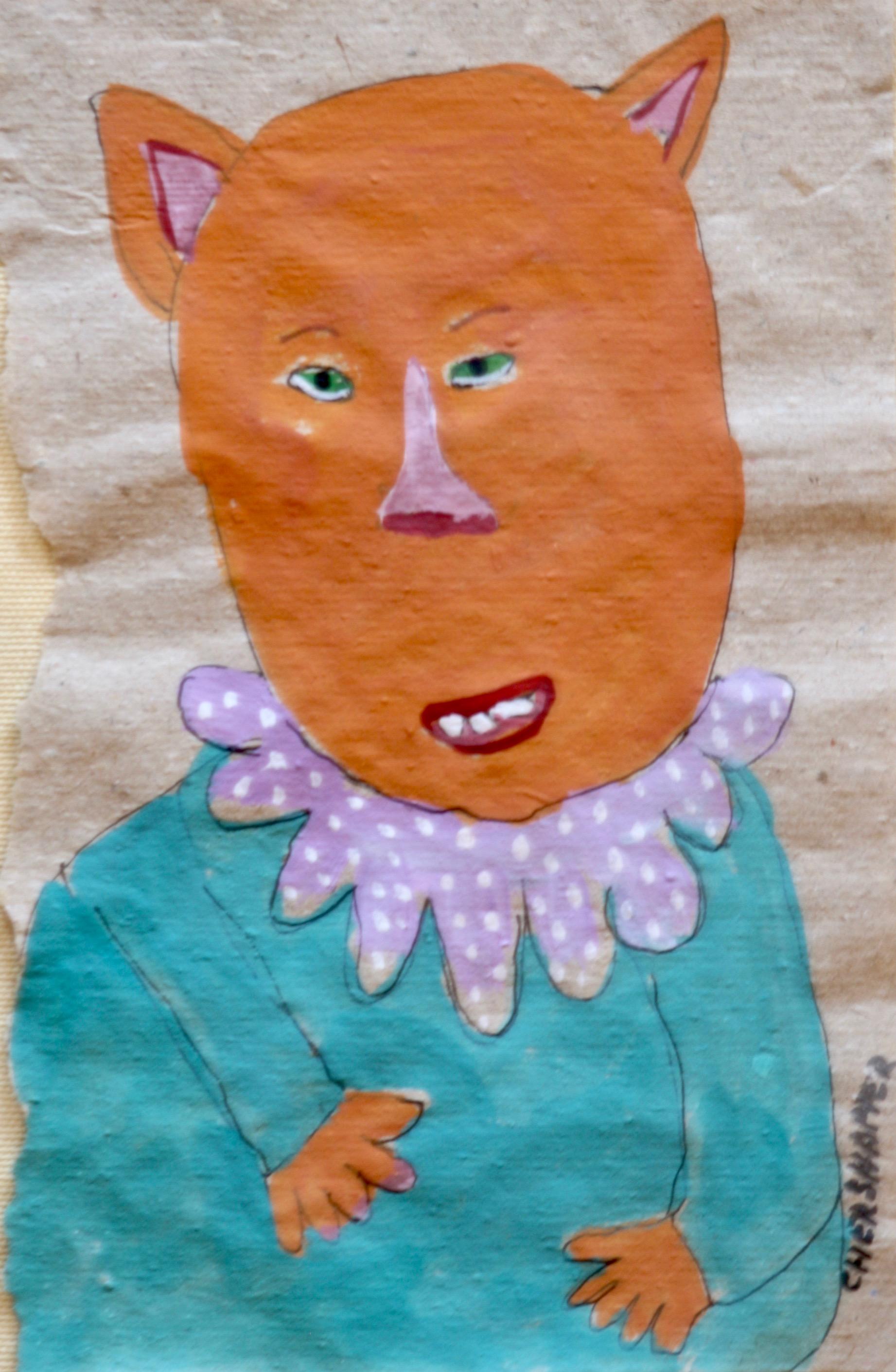 """Orange Cat Cher Shaffer 15 1/2"""" W x 18"""" H Framed $250."""