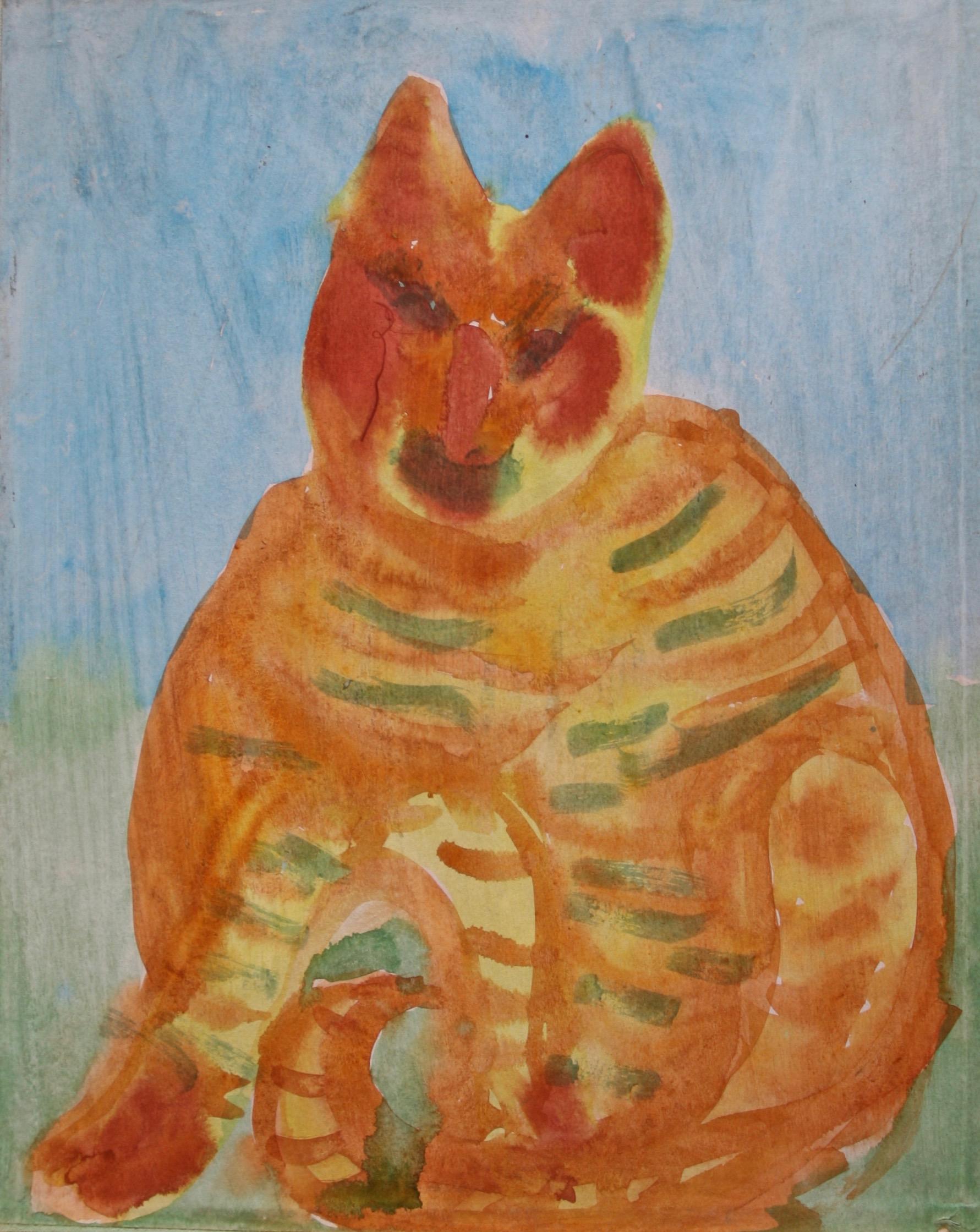 "Cat Sybil Gibson 19"" W x 23"" H Framed $1025."